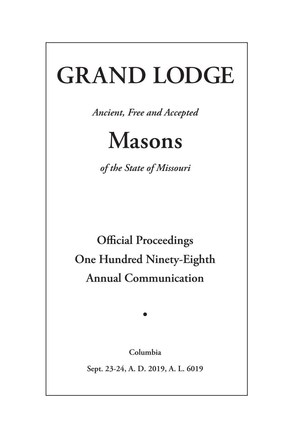 Official Proceedings - Grand Lodge Mo Annual Communication For Bethel Park Public School Calendar 2021 20