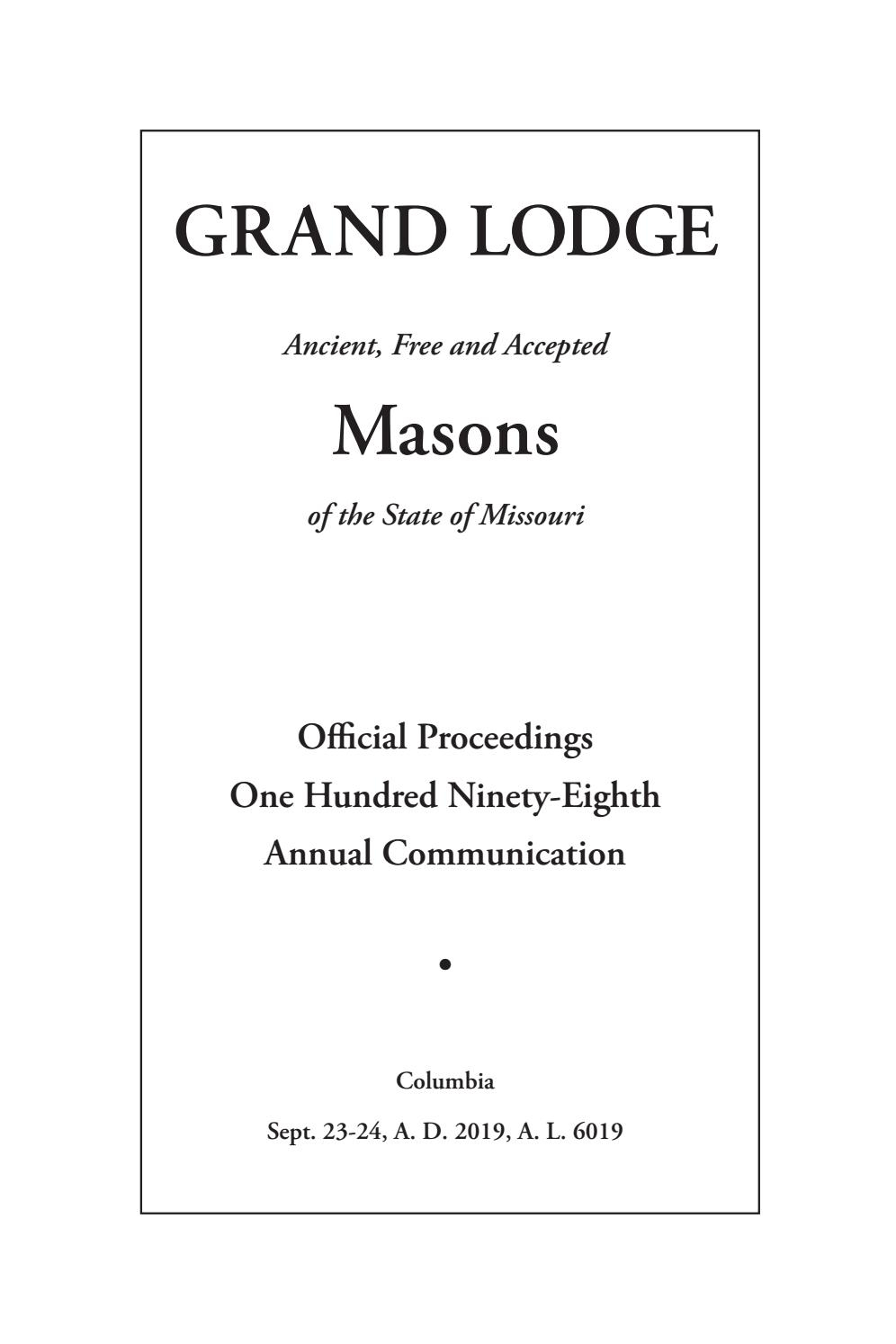 Official Proceedings - Grand Lodge Mo Annual Communication With Regard To 3Rd & Lindsley Nashville Calendar 2021 18