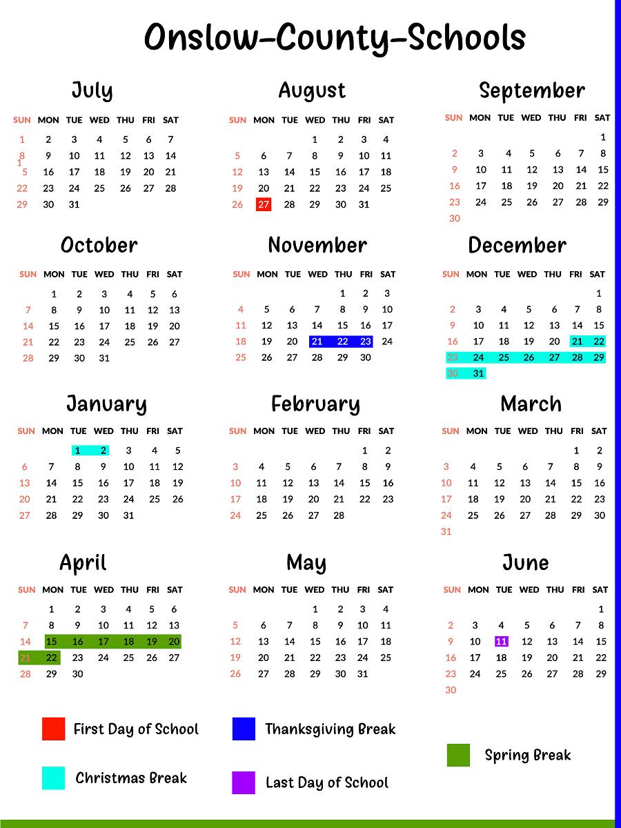 Onslow County Schools Calendar | School Calendar, Calendar Inside Warren County Ky School Fall Break 2021
