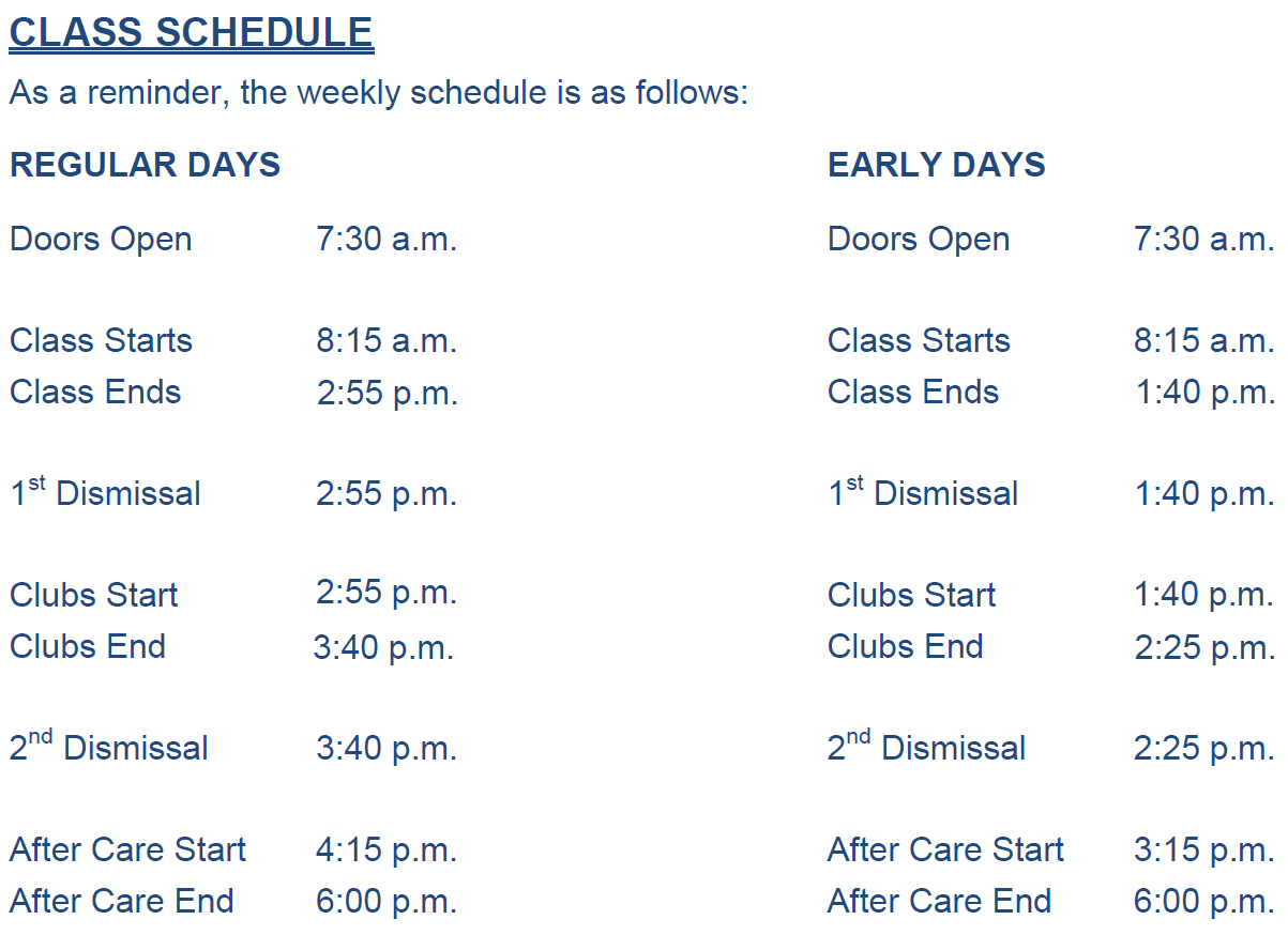 Orlando Science Elementary School - Bell Schedule for Orlando Florida Public School Schedule