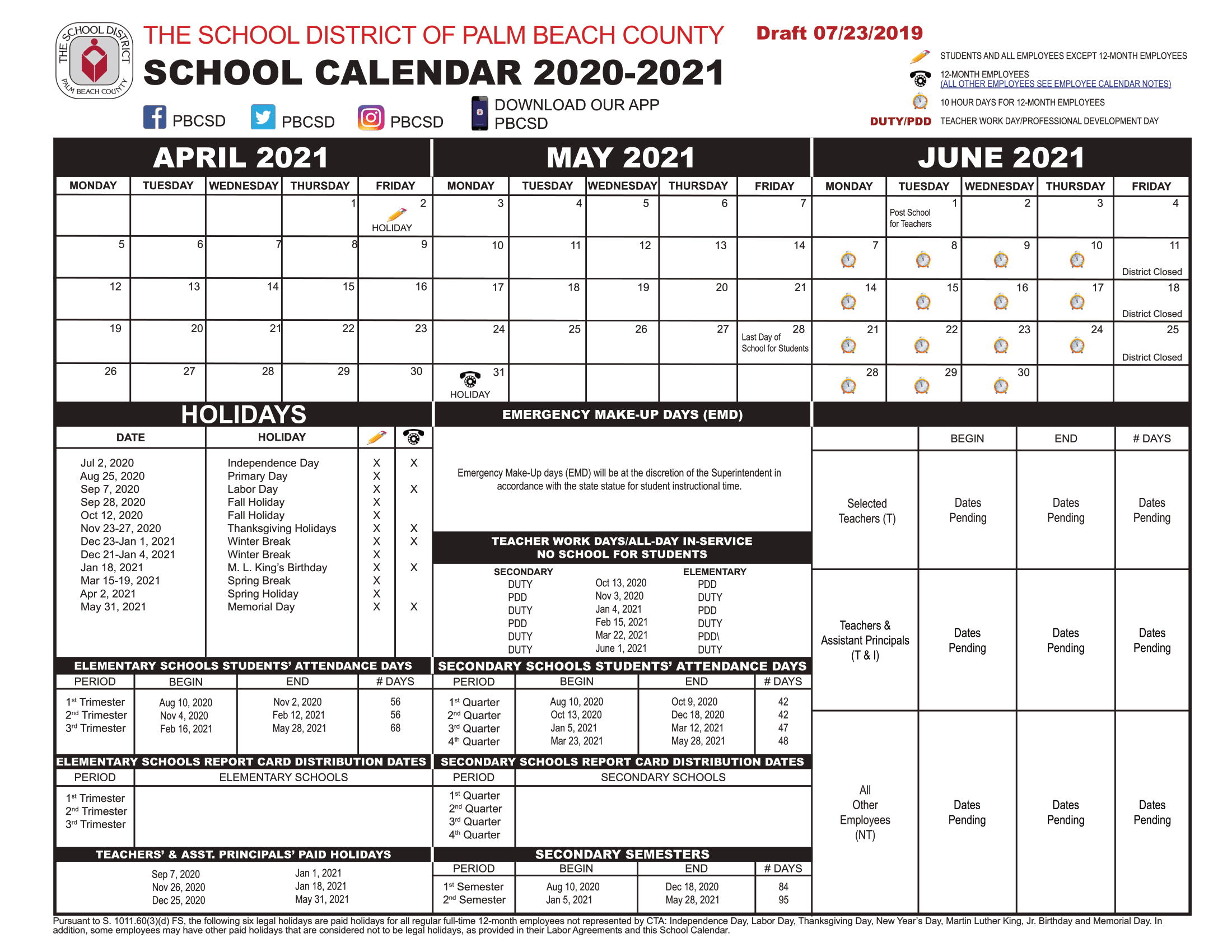 Palm Beach 2020 County Public School Calendar [Pdf] | County For Printable Palm Beach County School Calendar