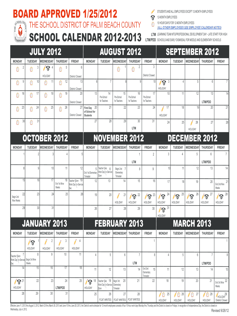 Palm Beach School Calendar - Fill Out And Sign Printable Pdf For Printable Palm Beach County School Calendar