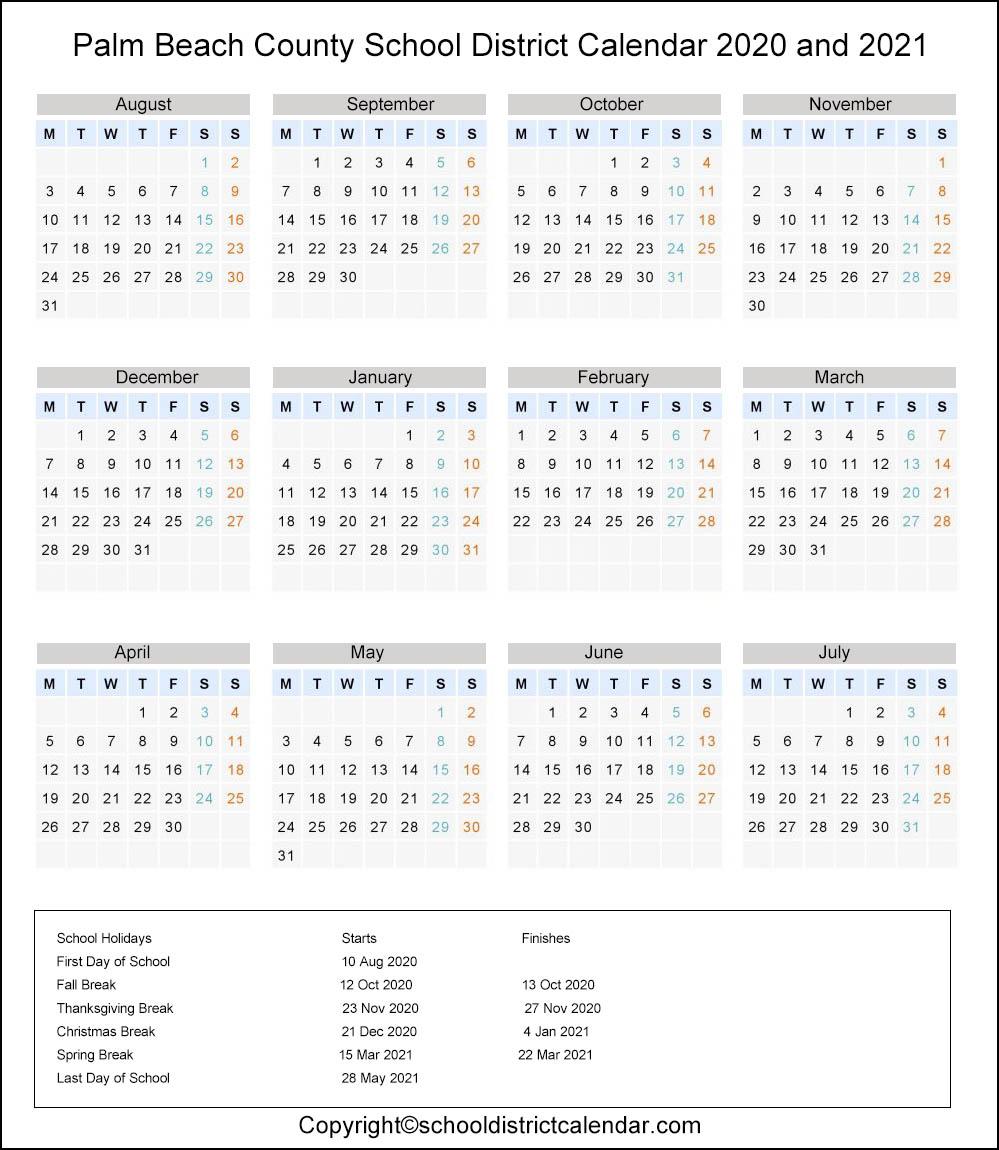 Palm Beach School District Calendar Holidays 2020 2021 Intended For Printable Palm Beach County School Calendar