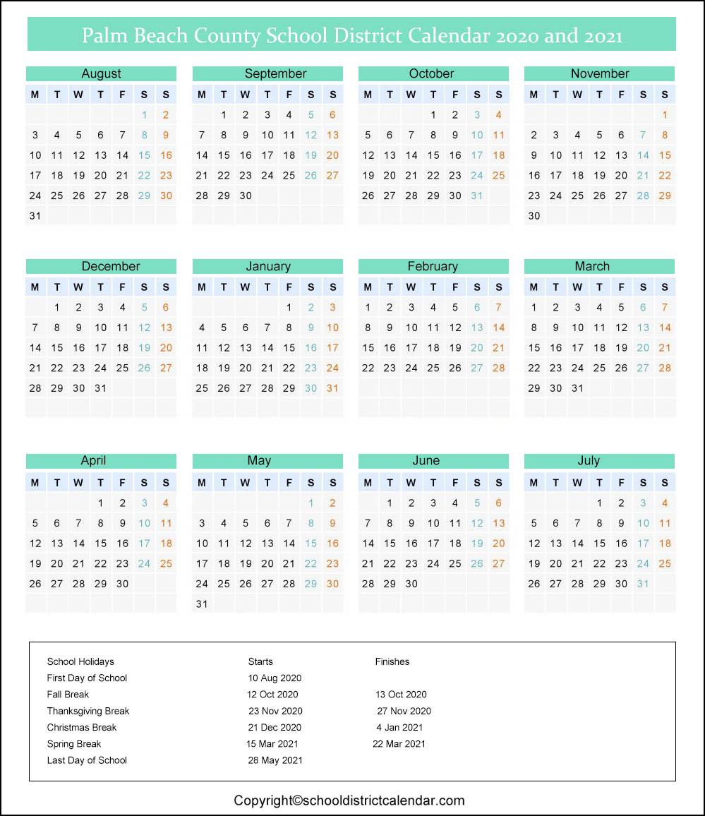 Palm Beach School District Calendar Holidays 2020 2021 Throughout Printable Palm Beach County School Calendar