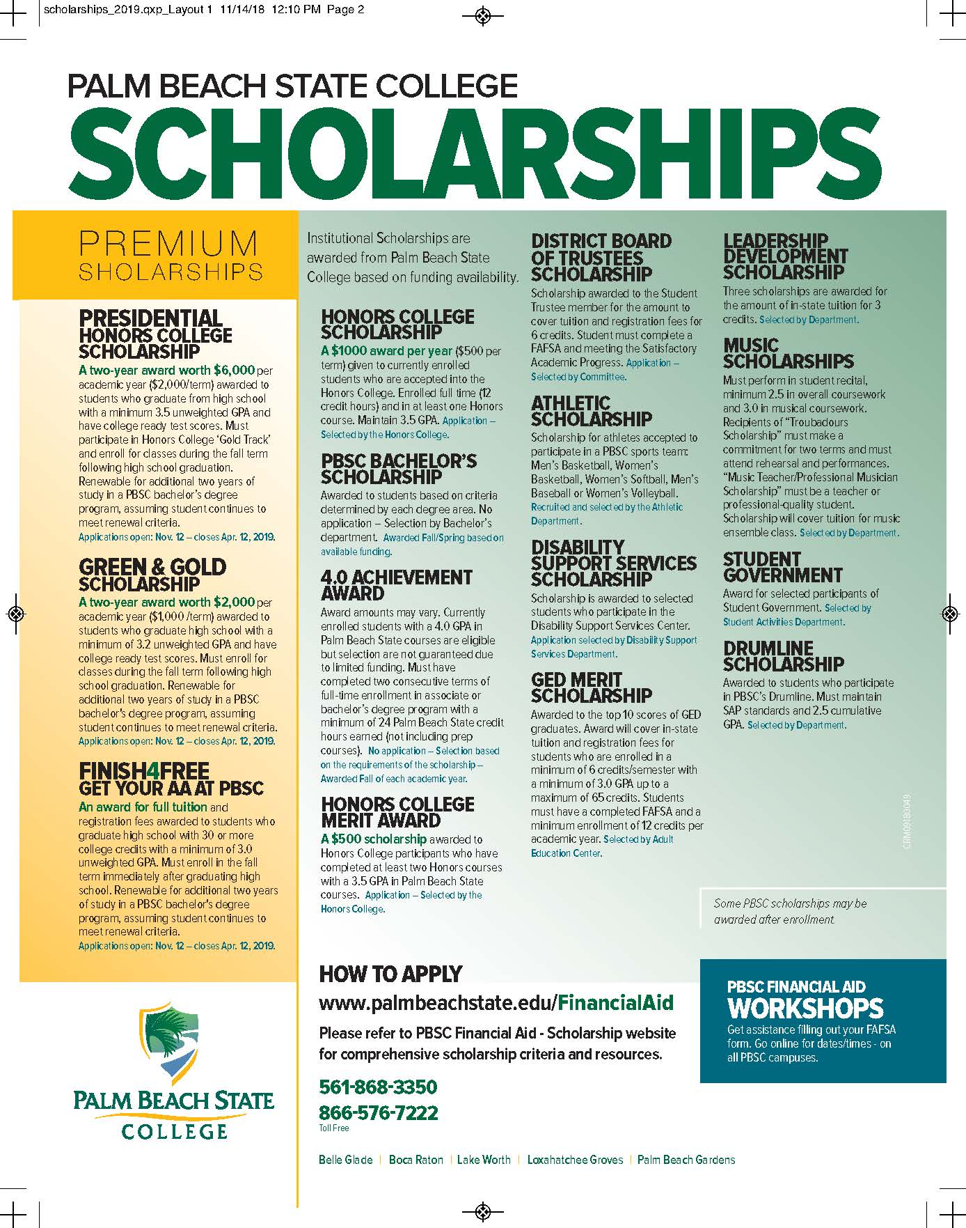 Palm Beach State Scholarships - Park Vista Community High School Regarding Palm Beach State College School Calendar