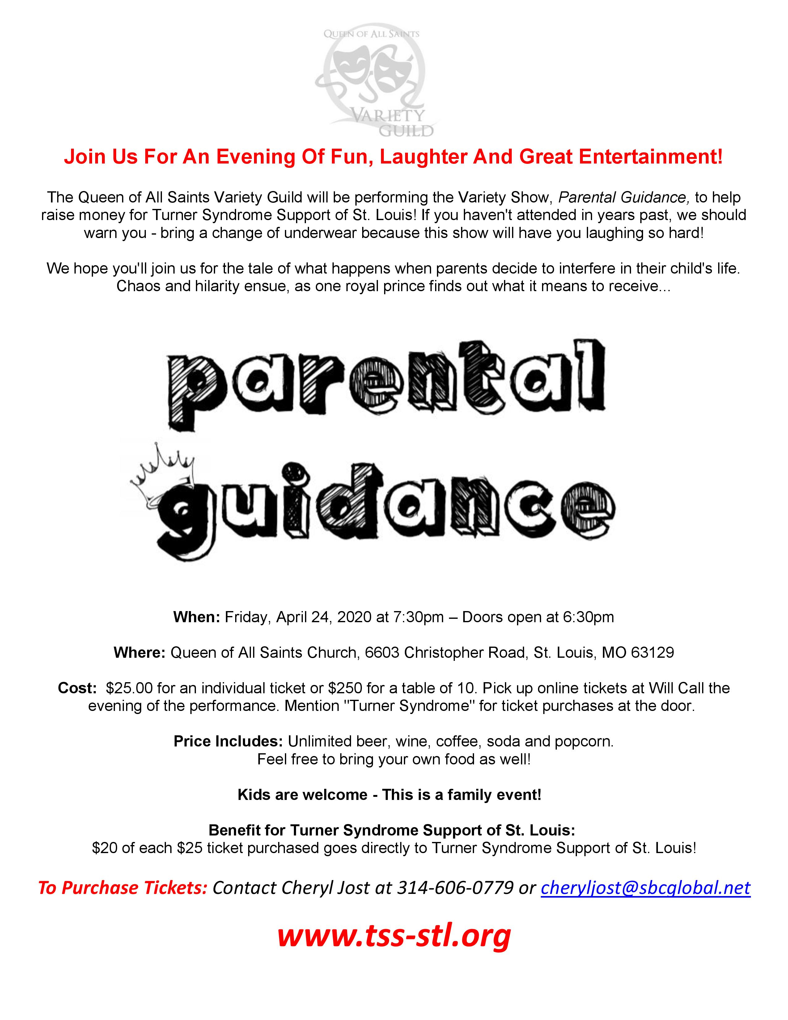 "Parental Guidance"" – Variety Show Comedy Benefit For Turner Regarding Printable Family Community Events Calendar St Louis Mo"