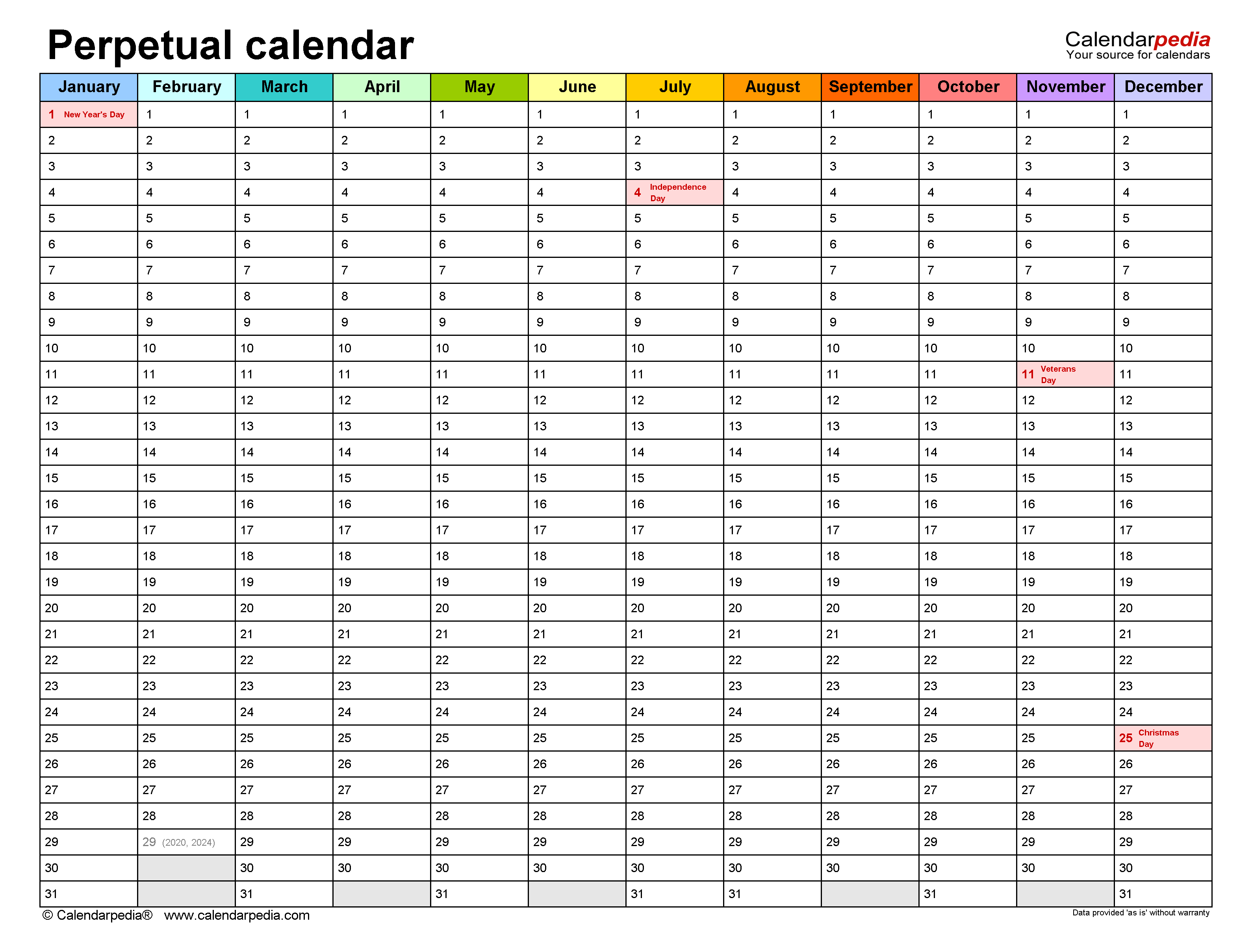 Perpetual Calendars - Free Printable Microsoft Word Templates pertaining to Printable Calender With Days O The Year