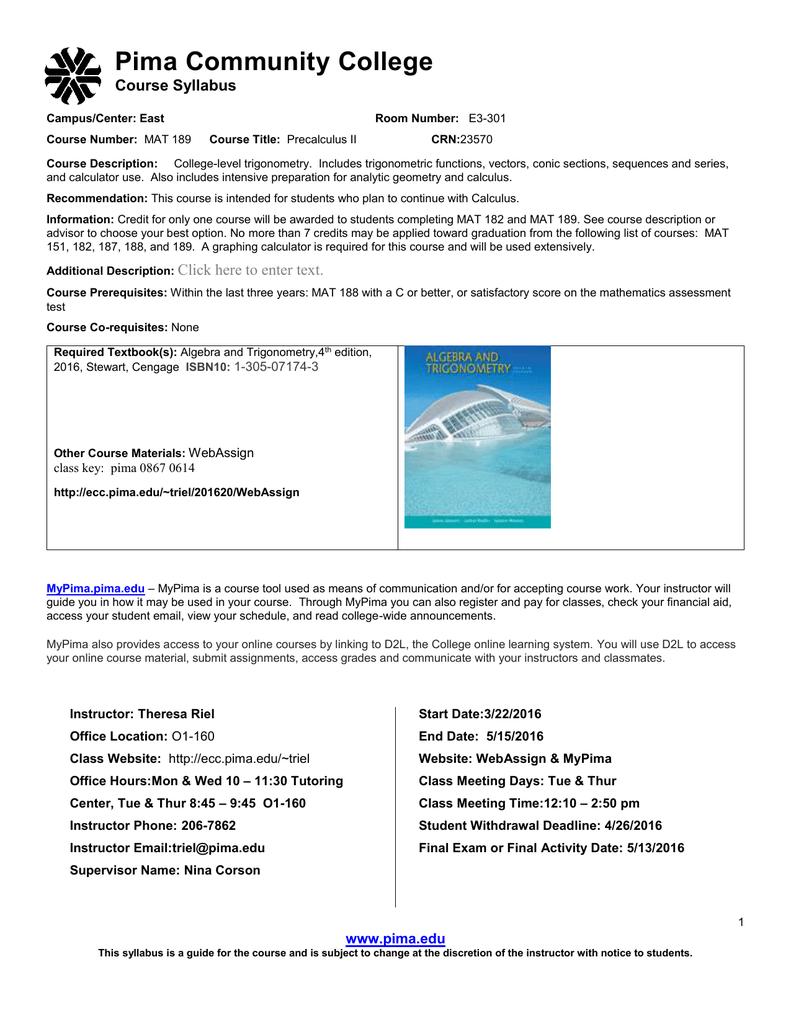 Pima Community College Course Syllabus Pertaining To Pima Community College Holiday Schedule