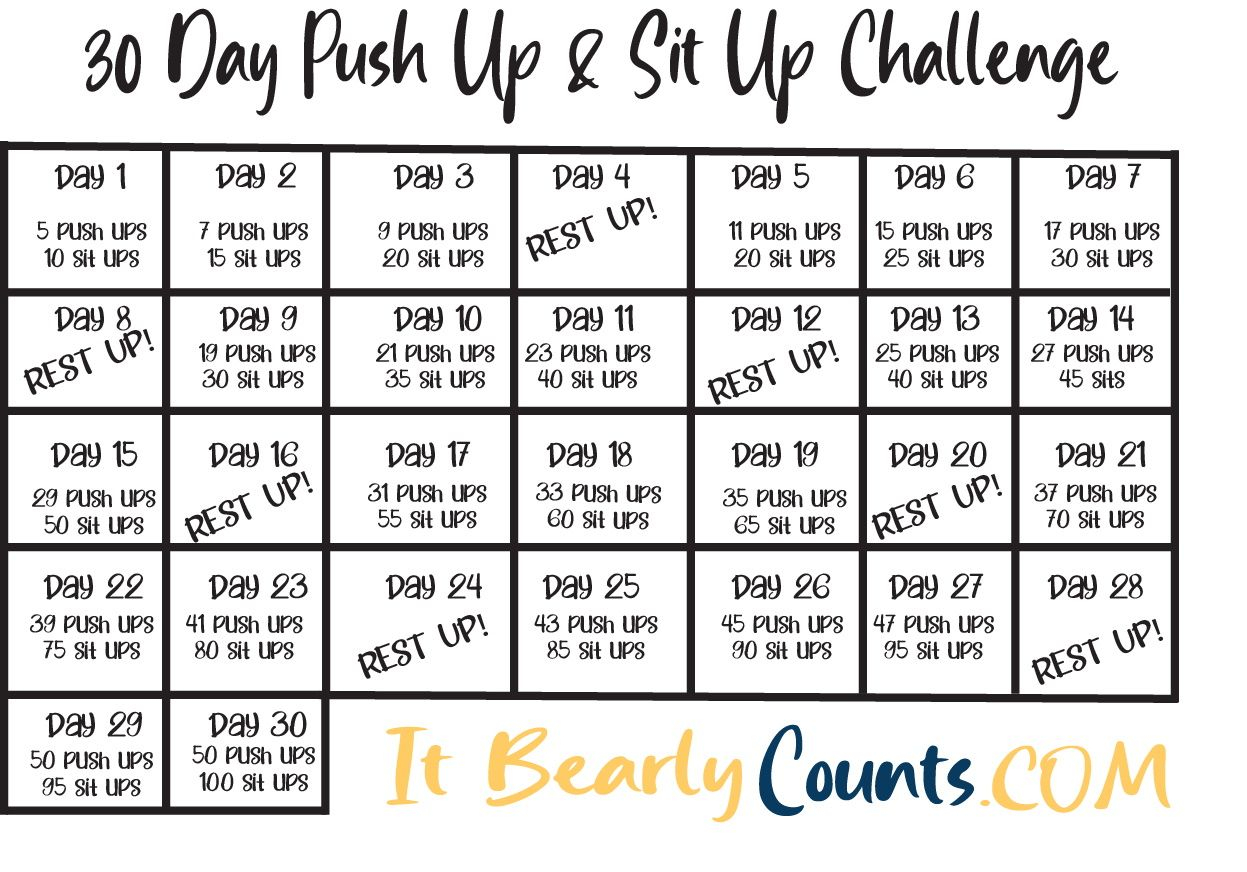 Pin On Health For 30 Day Sit Up And Squat Challenge Printable