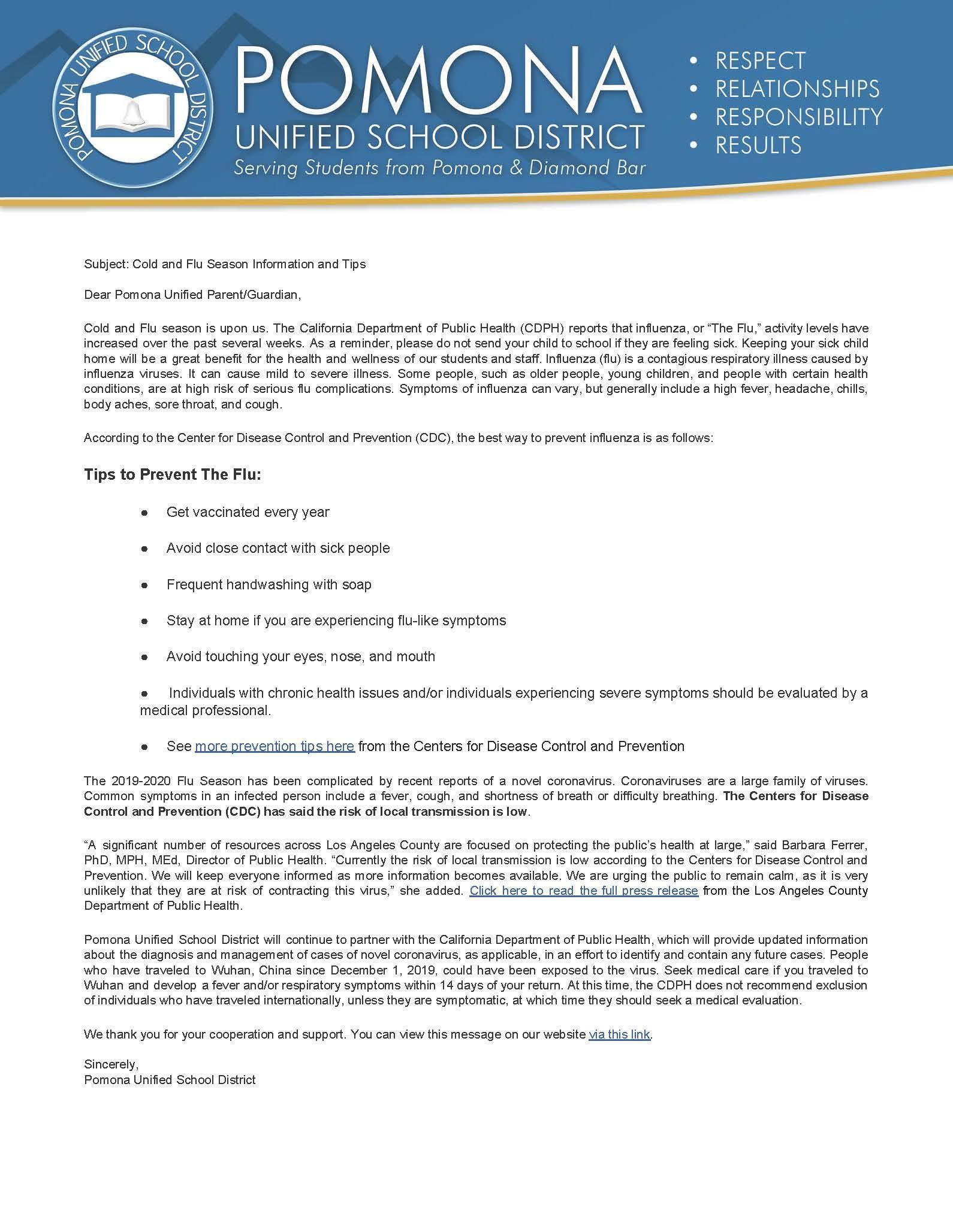 Pomona Unified School District (Pusd) For Pomona Unified School District Academic Calendar