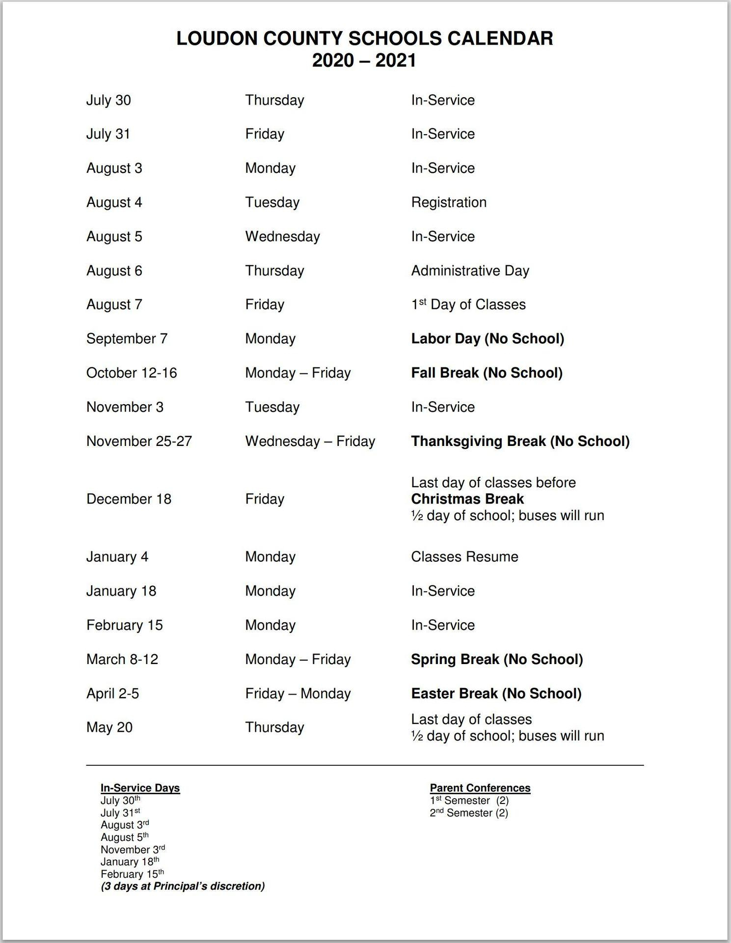 Print School Year Calendar – I Want To – Loudon County Intended For Lenoir County 2021 2021 School Calendar