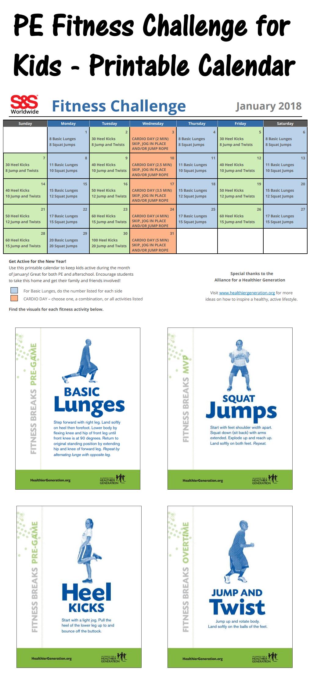 Printable Fitness Challenge Calendar For Kids - Keeping For Fitness Challenge Calendars For Students Pdf