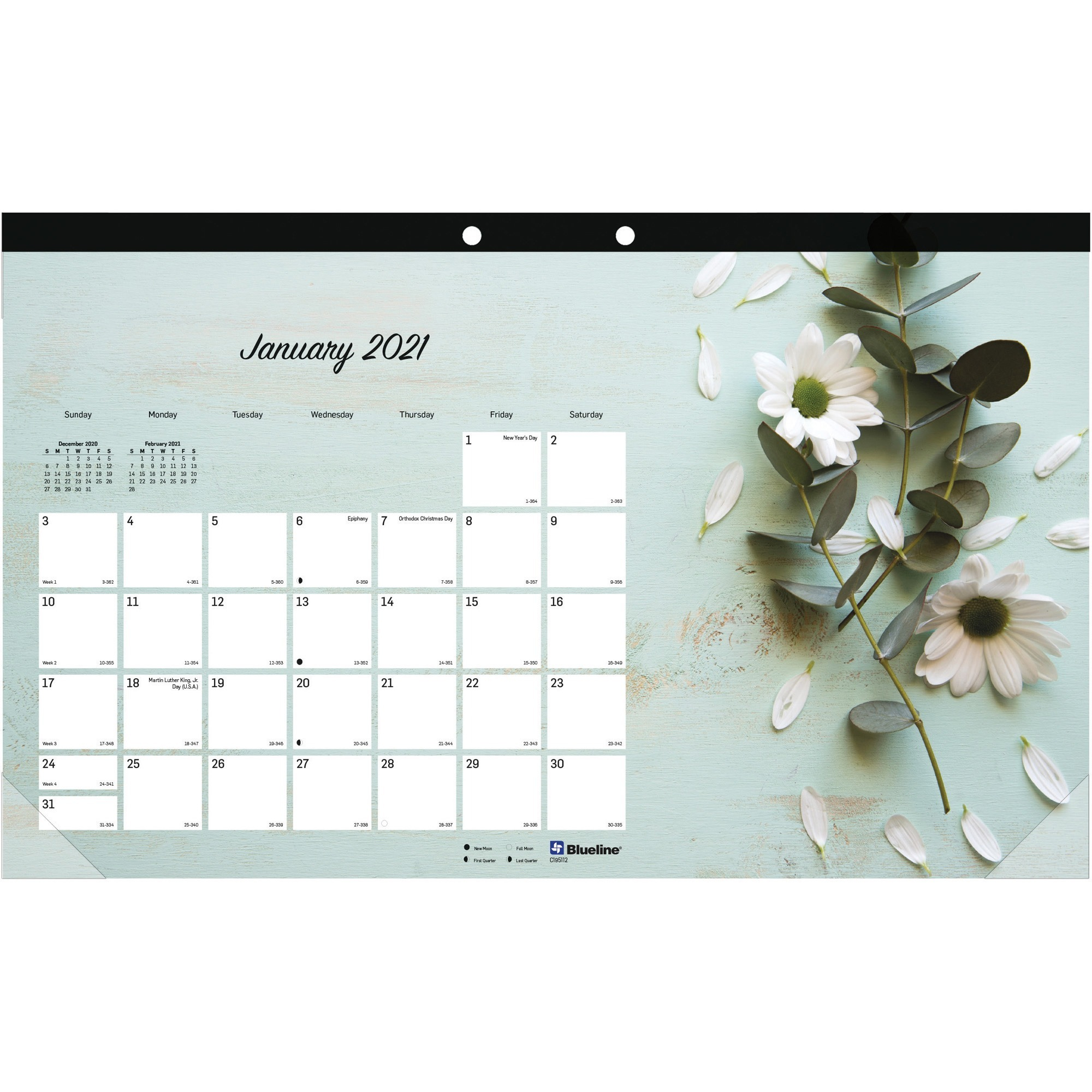 Rediform Romantic Desk Pad – Julian Dates – Monthly – 1 Year – January 2021  Till December 2021 – 1 Month Single Page Layout – Desk Pad – Floral – Within Julian Date Calendar 2021 Converter