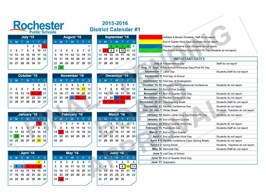 Rochester Public School Board Approves 2015 2016 District Intended For Rochester City School District Calendar