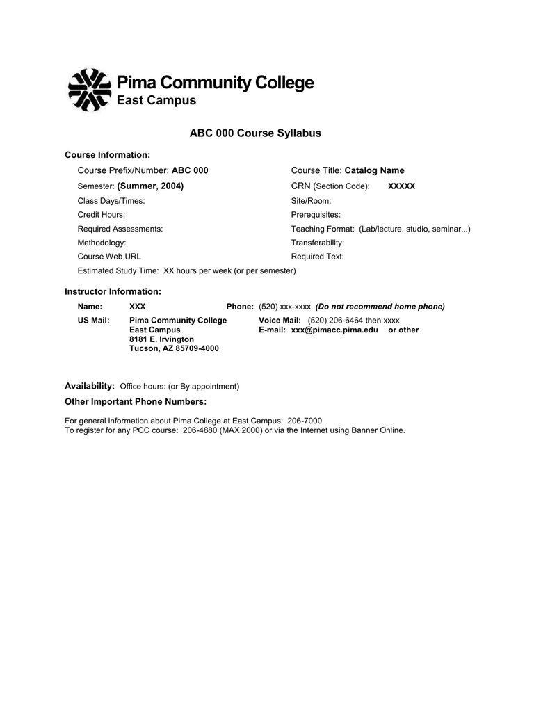 Sample Syllabi Within Pima Community College Holiday Schedule