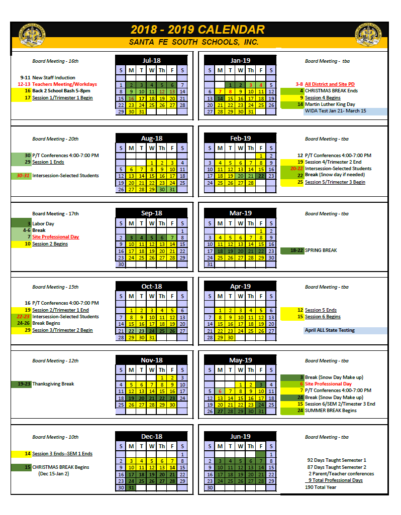 Santa Fe Calendar Of School And College Free | Solar Flood Within Forysth Nc County School Calender
