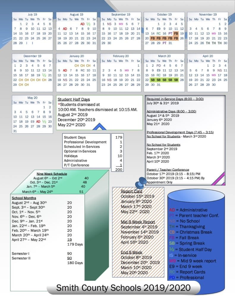 School Board Approves 2019/2020 School Calendar | Smith In Bedford County Tn School Calendar 2021