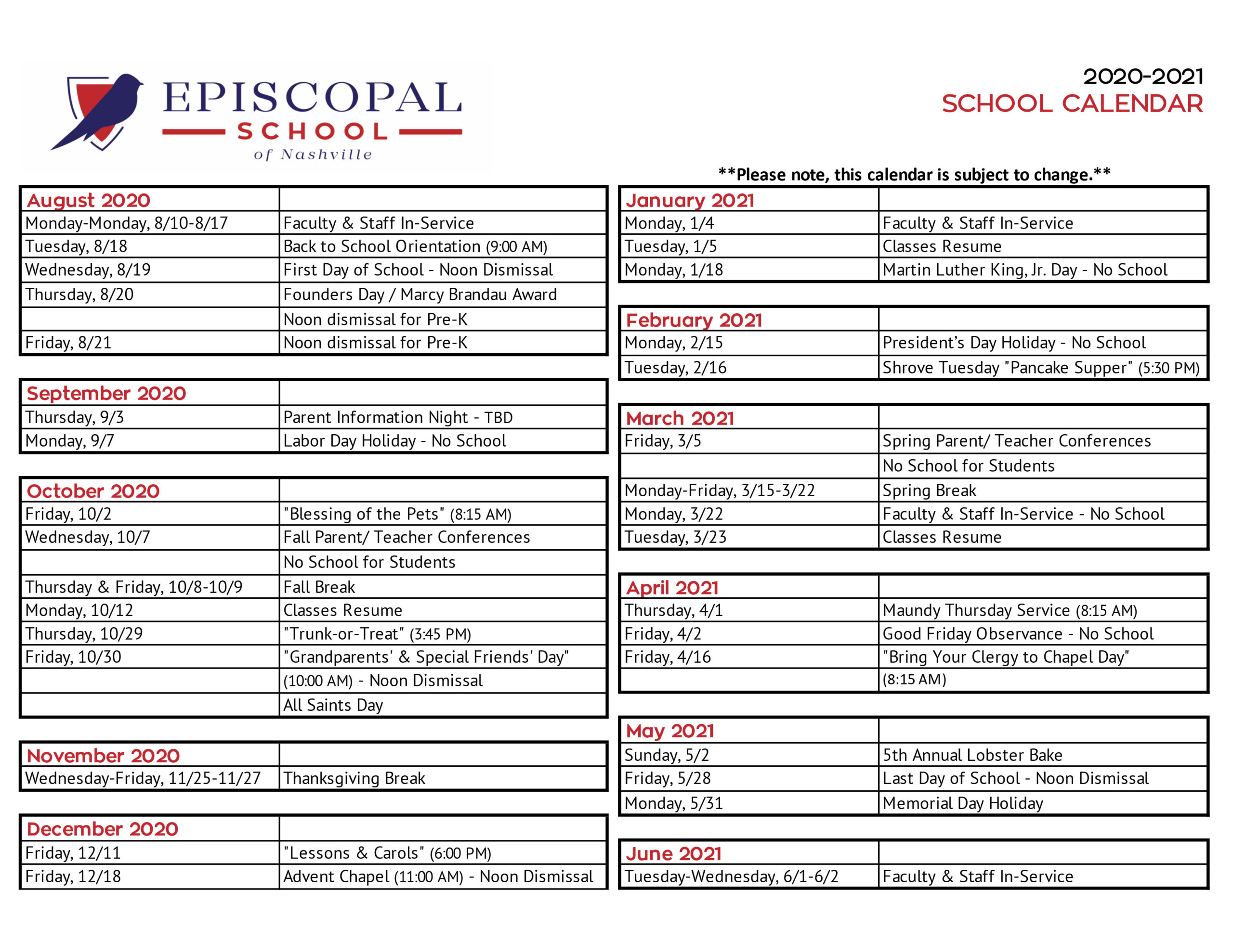 School Calendar – Episcopal School Of Nashville Inside Davidson County Tn School Calendar 2021 2020