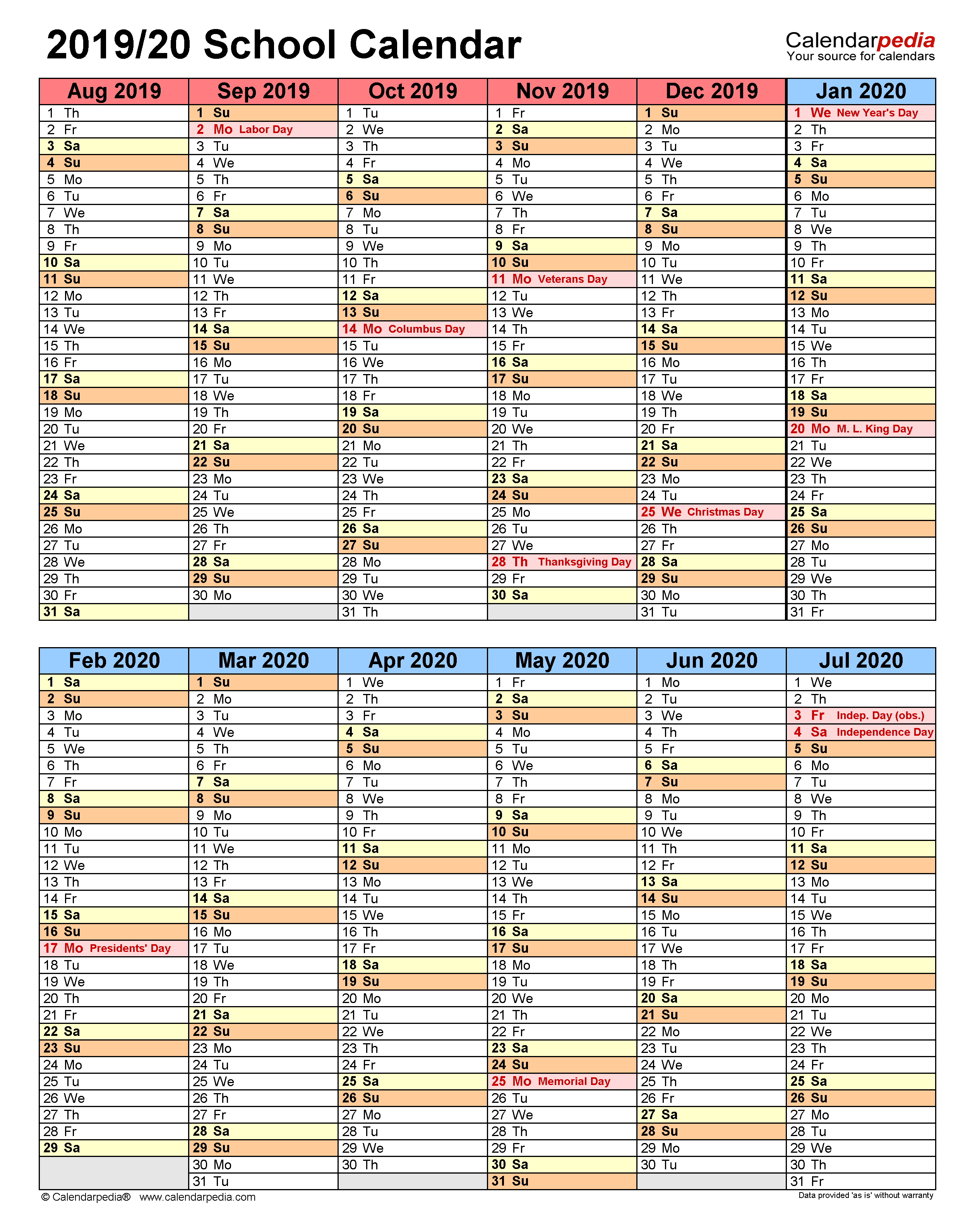 School Calendars 2019/2020 - Free Printable Excel Templates Intended For Independence Mo Printable School Calendar