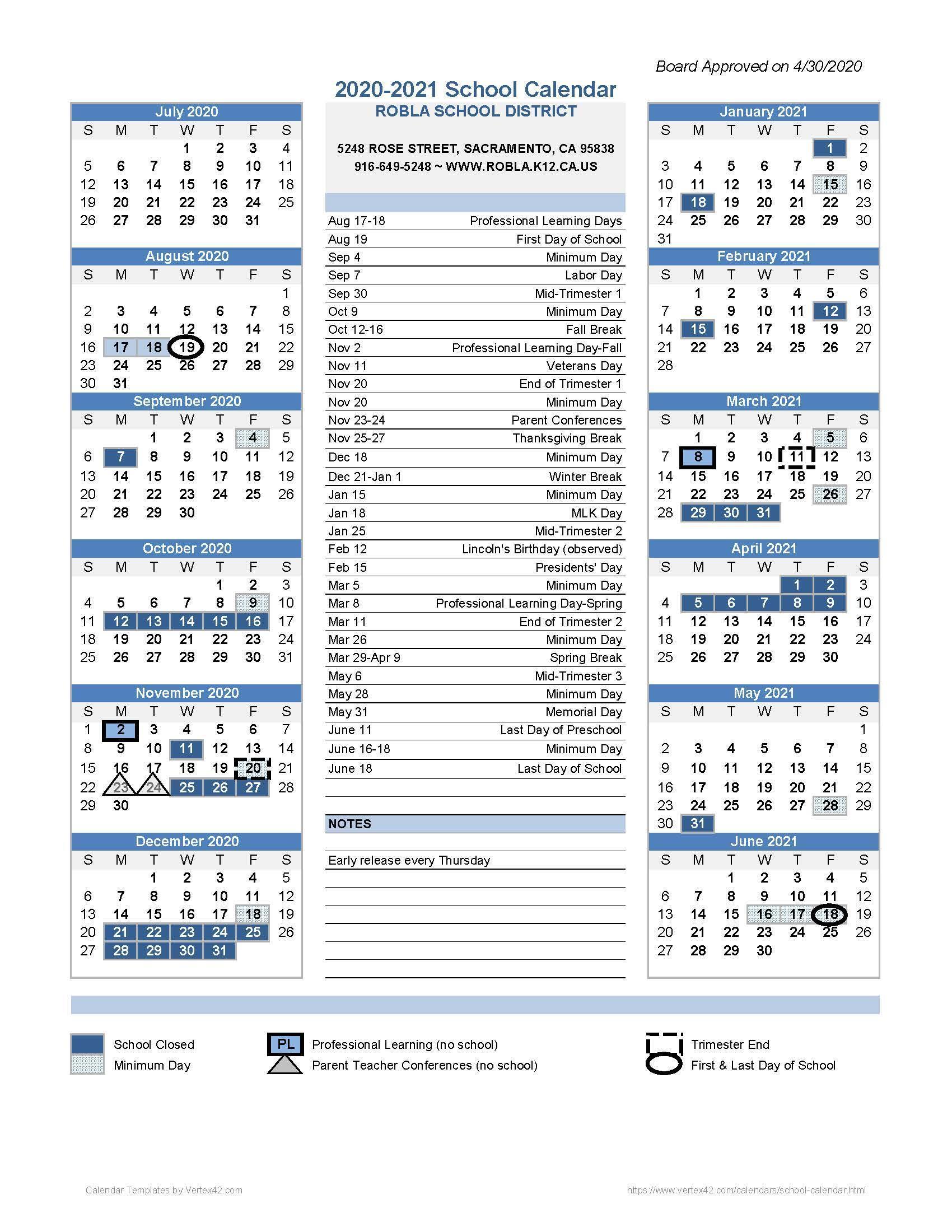 School Calendars – Student Enrollment – Robla School District For Corona Norco Usd School Calendar 2021