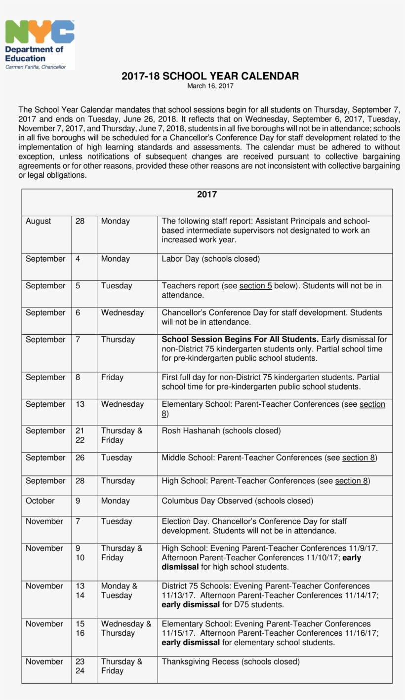 School Year Calendar – New York City Department Of Education Inside Nyc Dept Of Ed Calendar