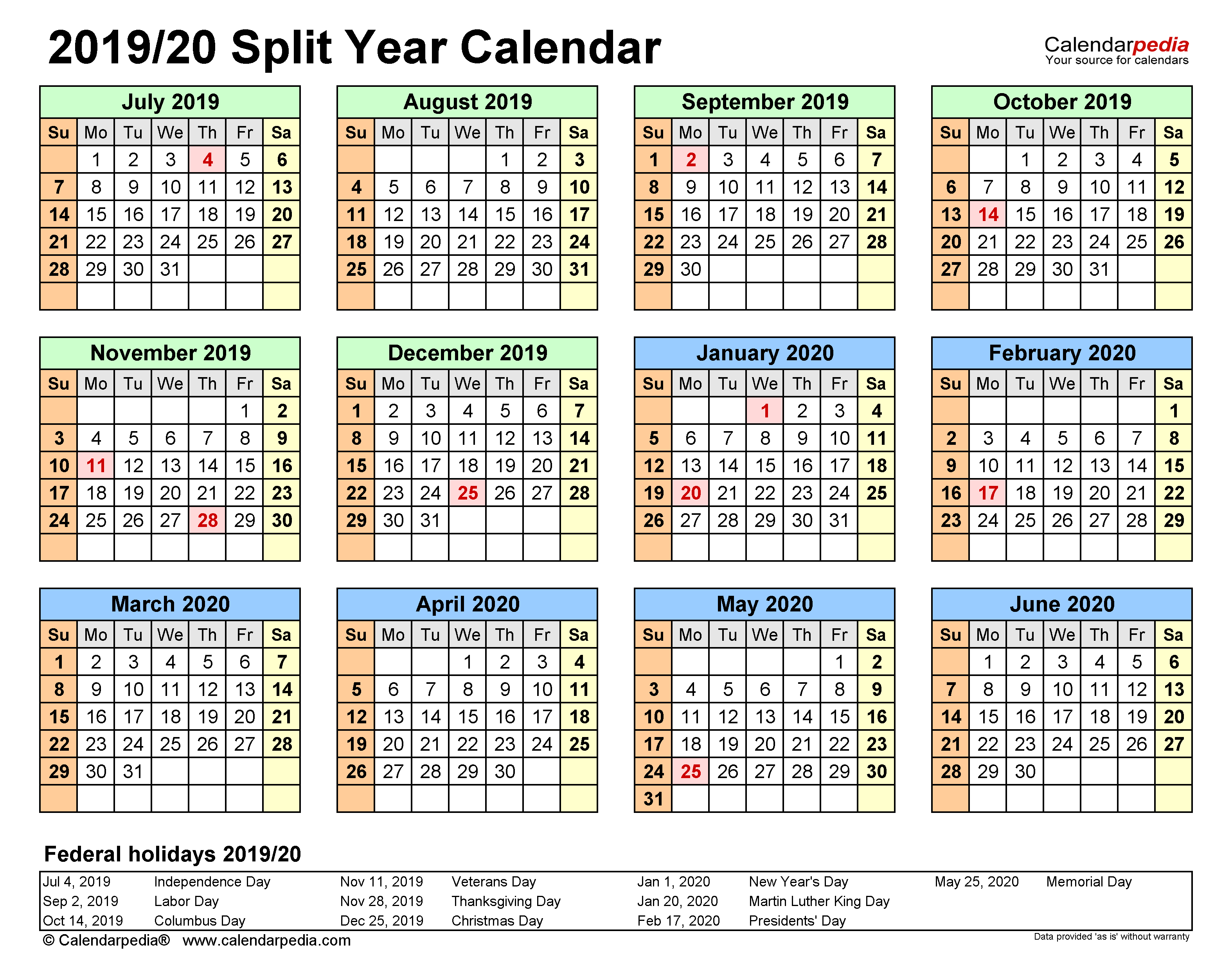 Split Year Calendars 2019/2020 (July To June) - Excel Templates In Independence Mo Printable School Calendar