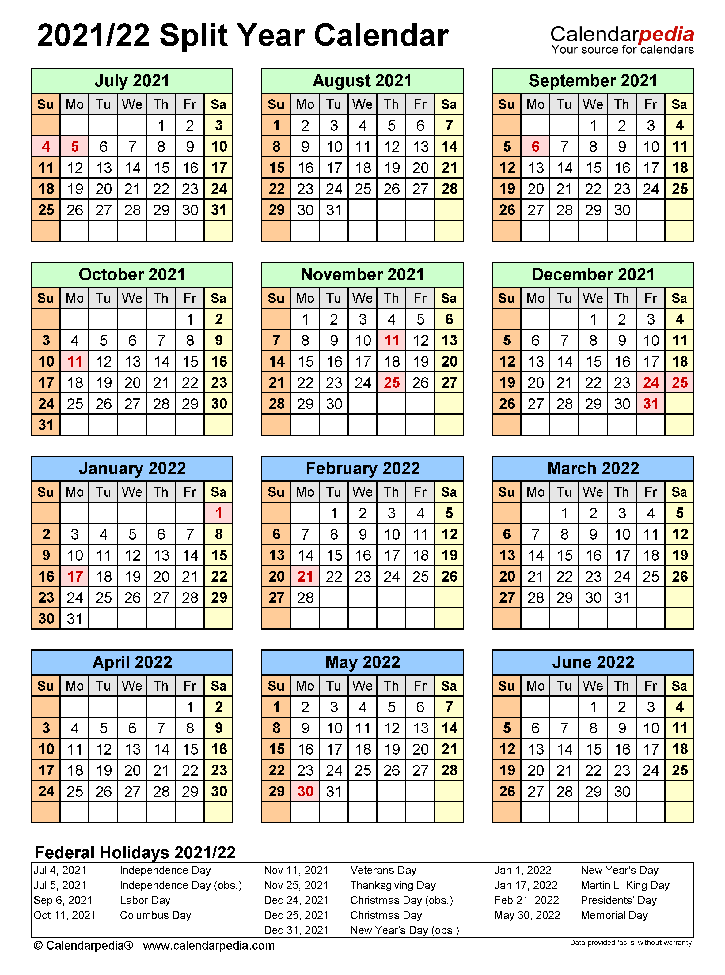 Split Year Calendars 2021/2022 (July To June) – Excel Templates Throughout Independence Mo Printable School Calendar
