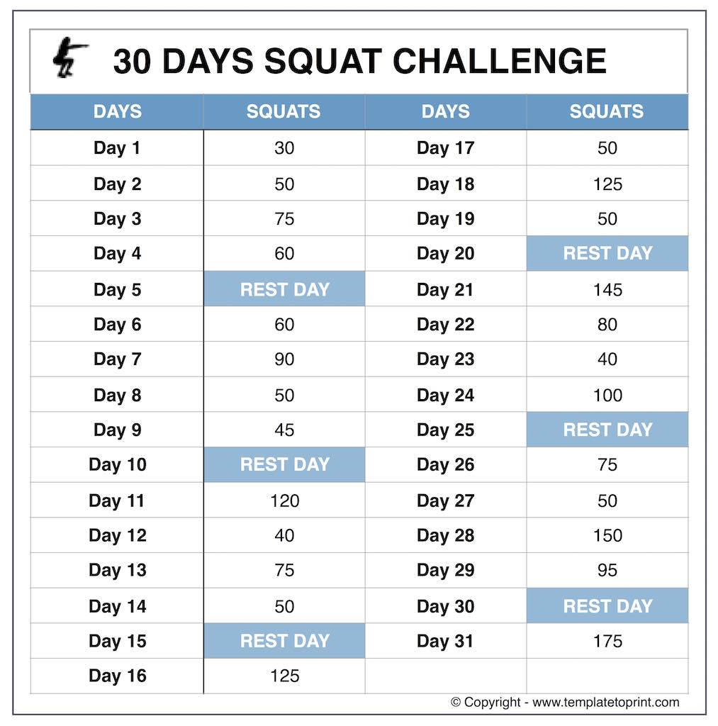 Squat Challenge Beginners » Template To Print For Squat Challenge Calendar Beginner Printable
