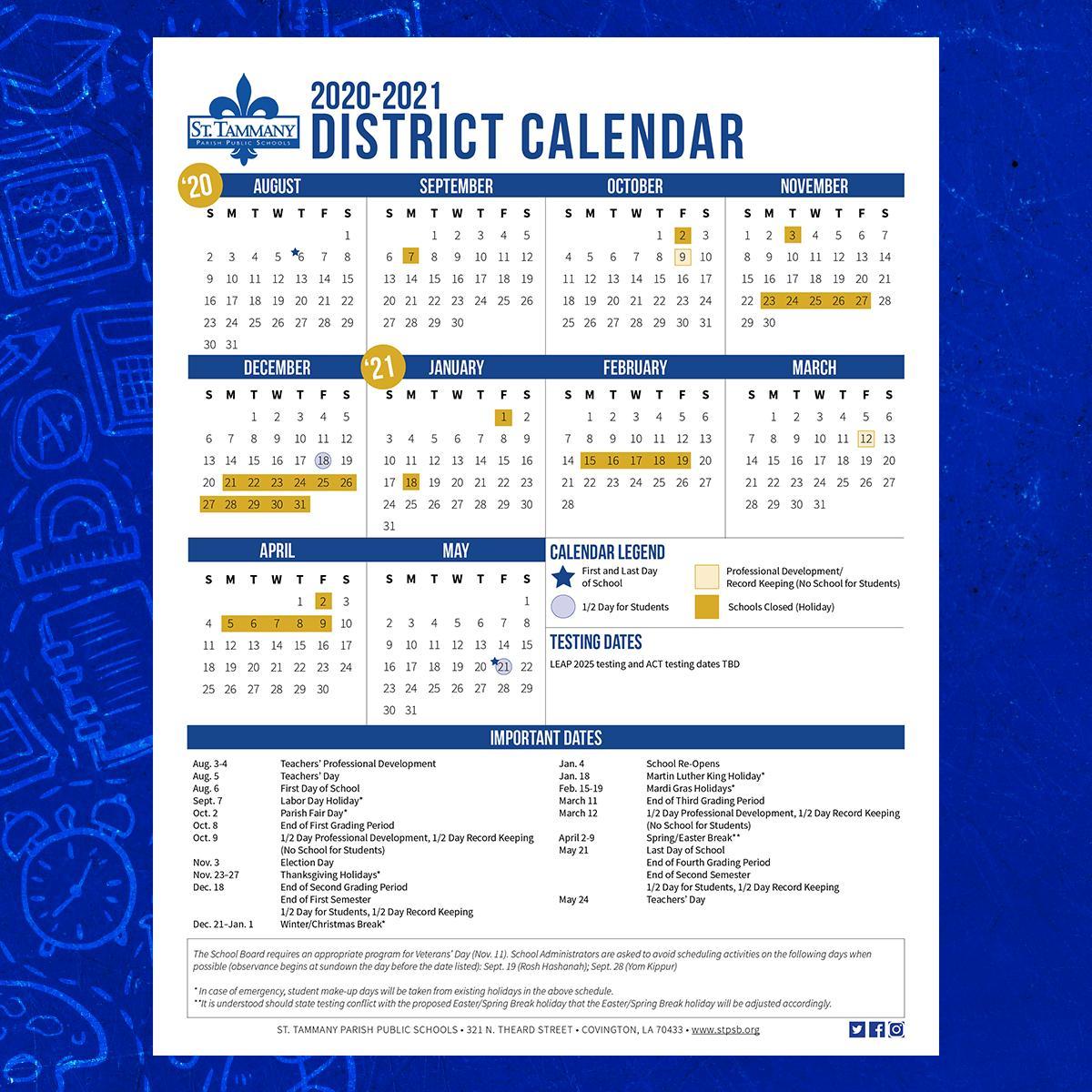 "St. Tammany Parish Public Schools A Twitter: ""looking For Throughout Lex Dist 1 Calendar"