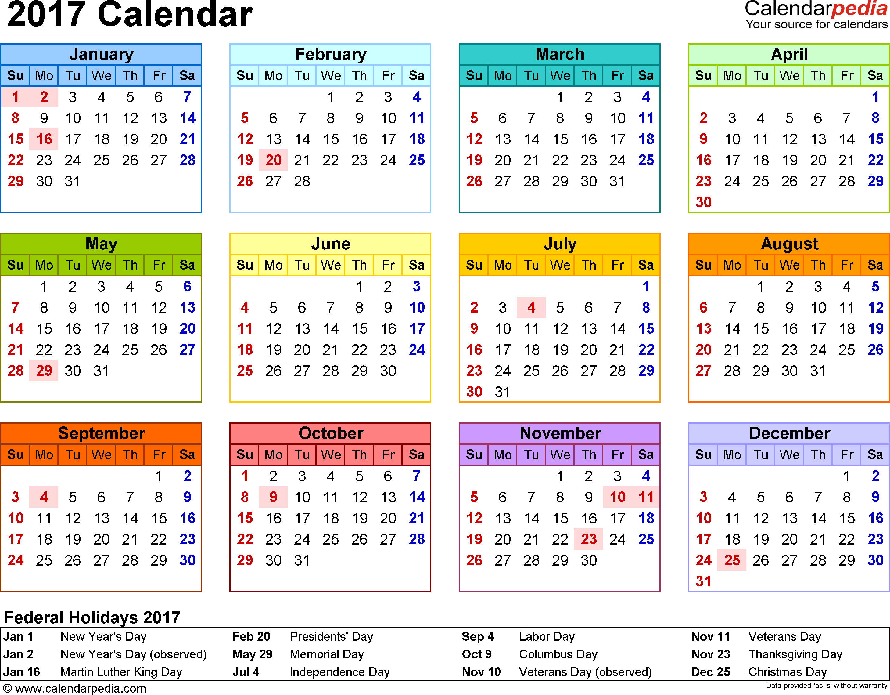 Template 8: 2017 Calendar For Word, Year At A Glance, 1 Page Regarding Independence Mo Printable School Calendar