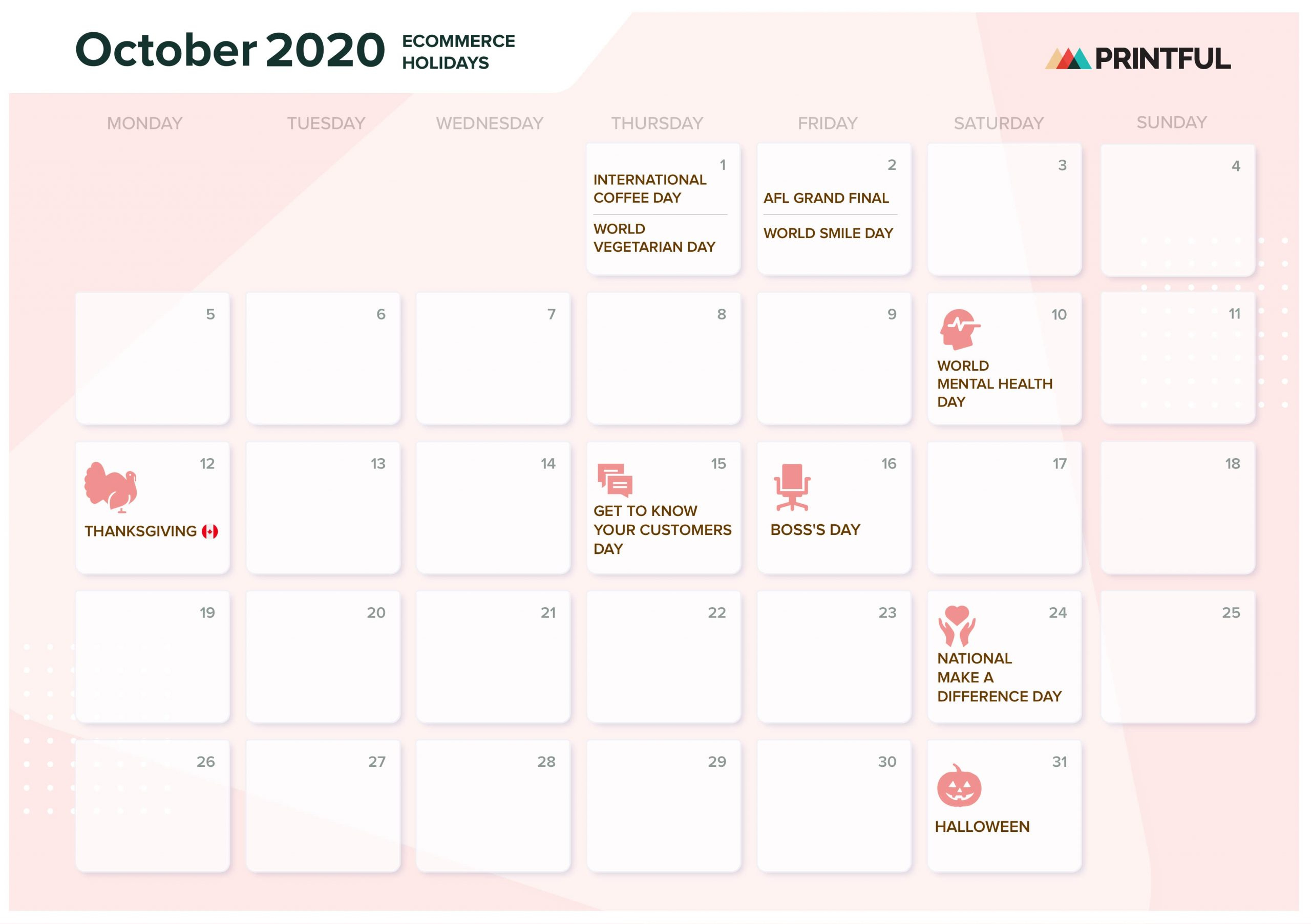 The Ultimate 2020 Ecommerce Holiday Marketing Calendar Intended For October Month Mexican Calendar With Personal Names