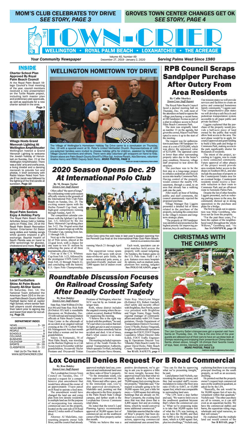 Town Crier Newspaper December 27, 2019Wellington The Pertaining To Palm Beach County Auction Calendar