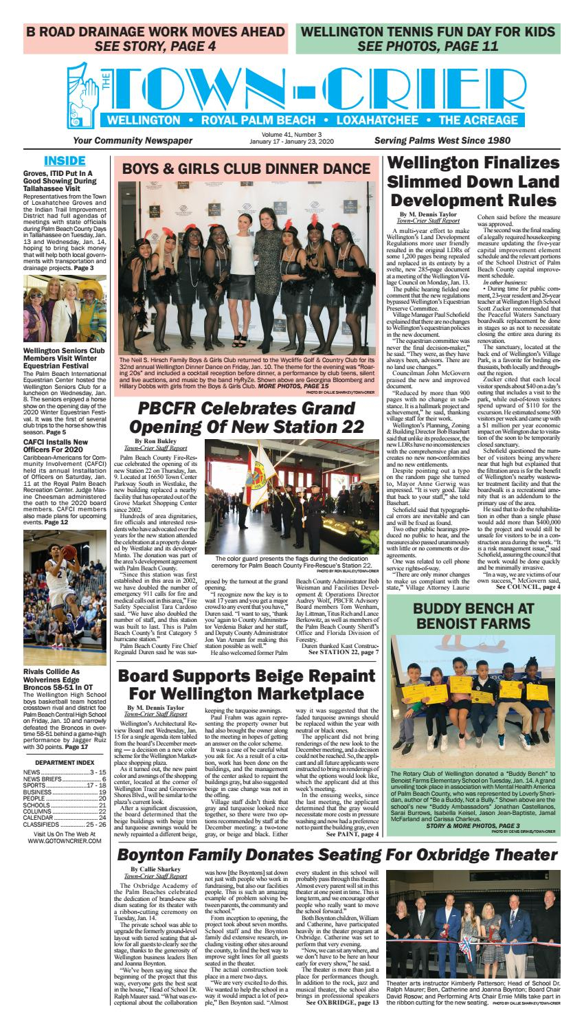 Town Crier Newspaper January 17, 2020Wellington The For Palm Beach County Auction Calendar