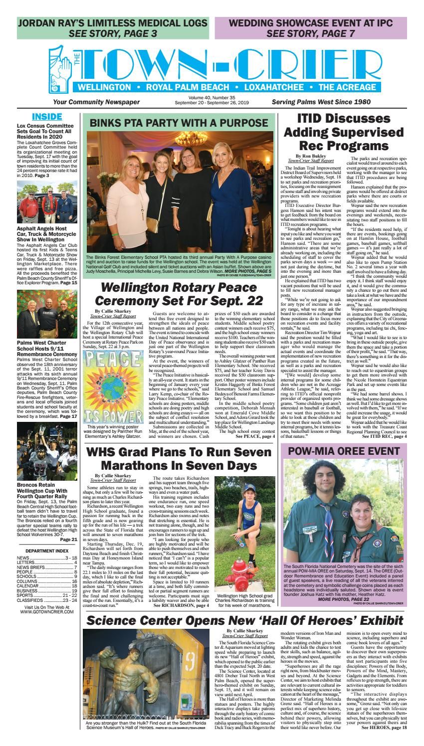 Town Crier Newspaper September 20, 2019Wellington The Pertaining To Palm Beach County Auction Calendar