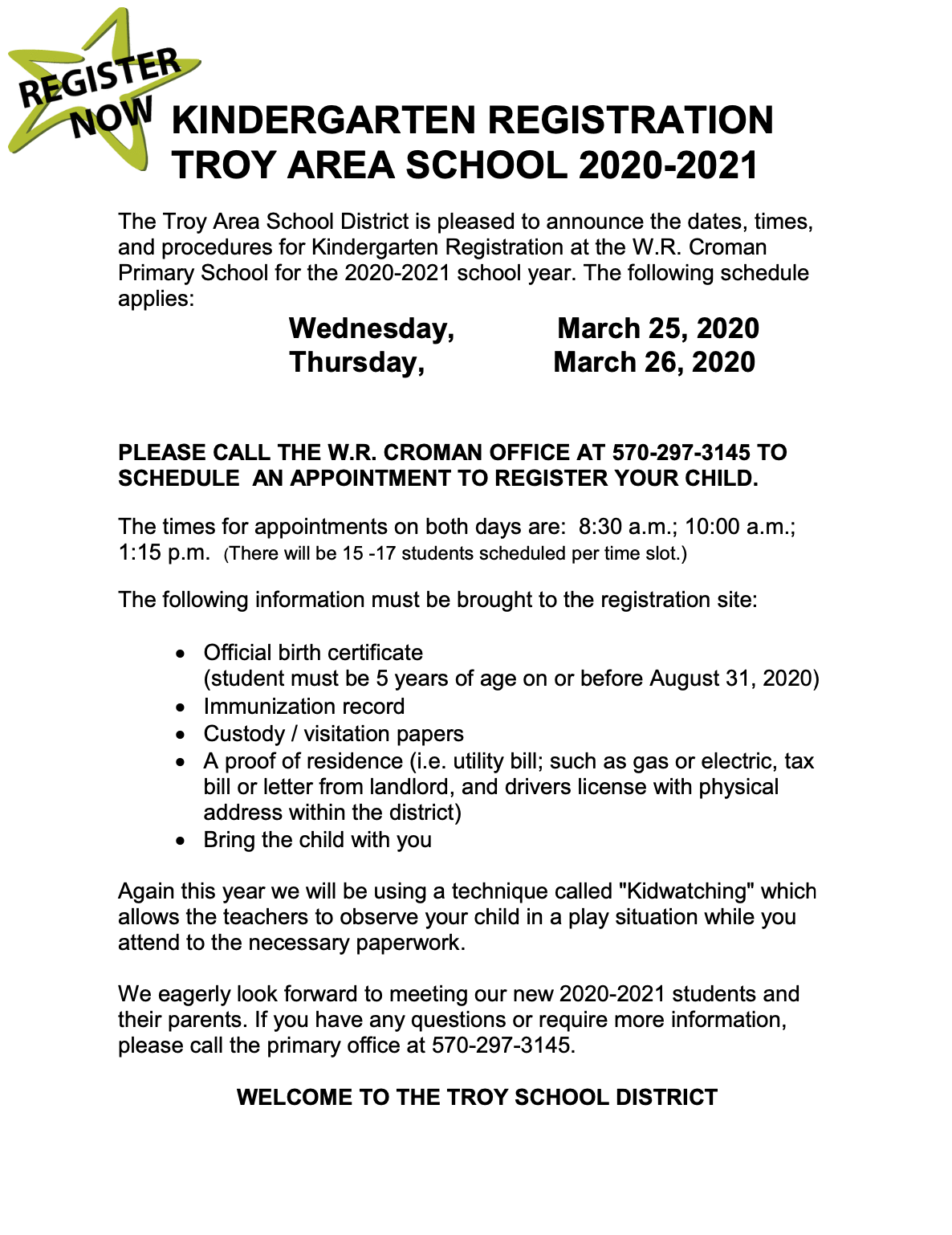 Troy Area School District News Article Throughout Corning Central School District Yearly Calendar
