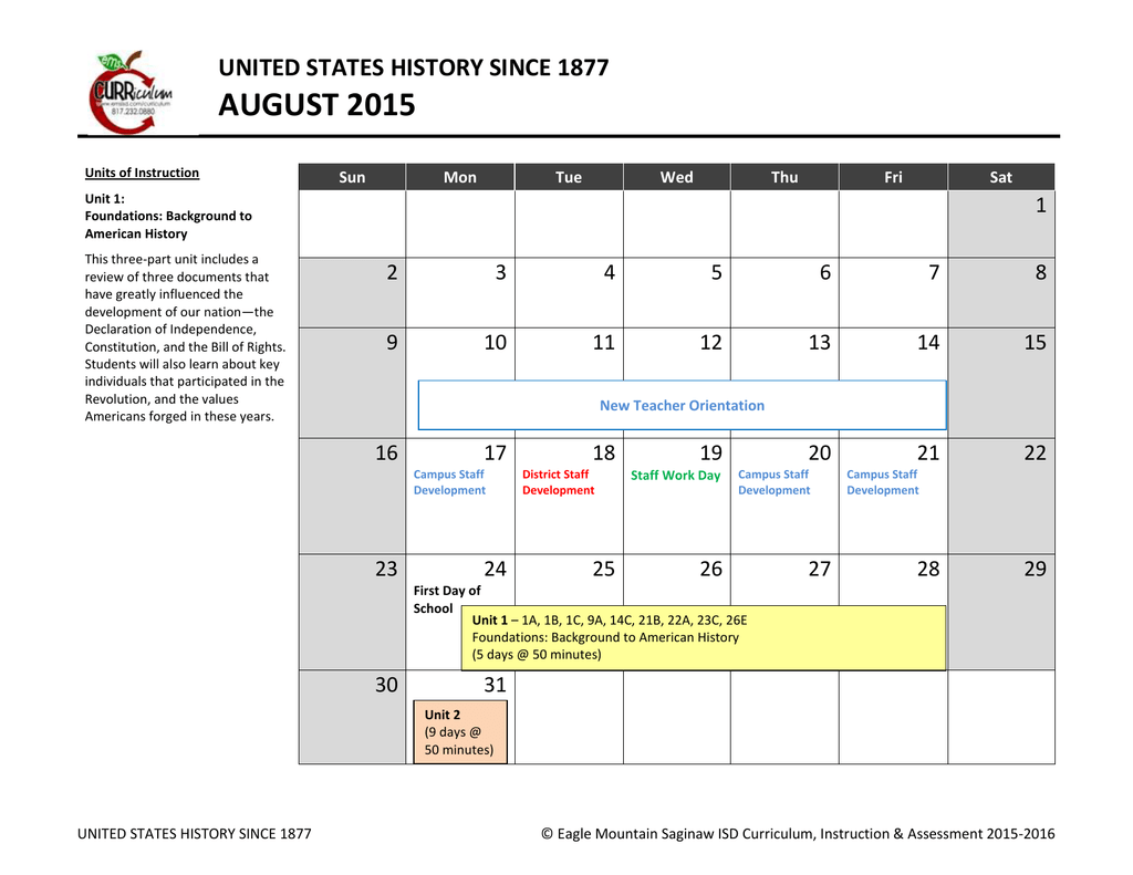 Us History Curriculum Calendar - Eagle Mountain Intended For When Is Spring Break For Eagle Mountain Saginaw Isd In Texas