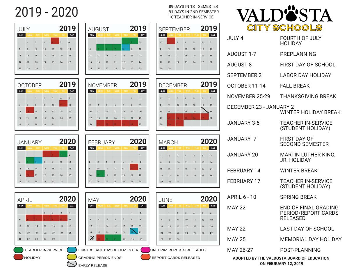 Valdosta City School District Regarding Georgia State Academic Calendar 2021 2020