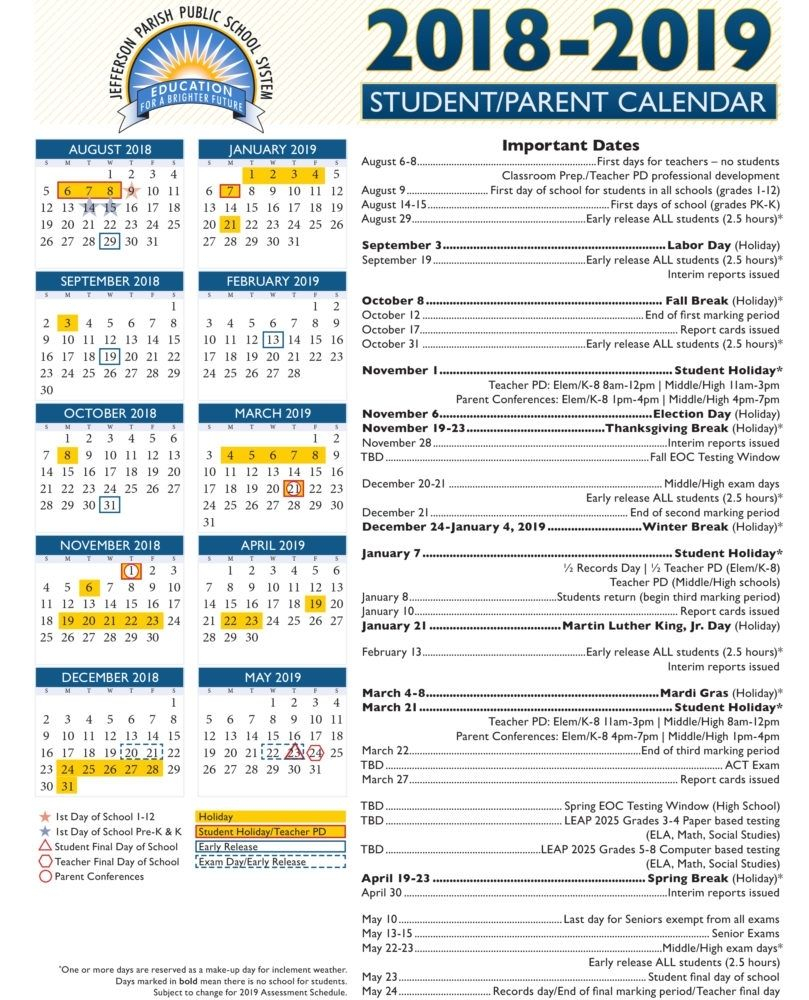 View Our 2018 19 Academic Calendar — Jefferson Parish Public Inside Forysth Nc County School Calender