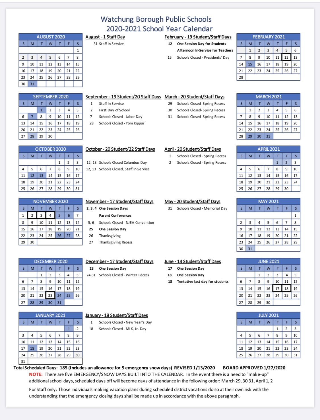 Watchung Board Of Education Approves 2020 21 Calendar | Tapinto With Nassau Community College Spring 2020 Student Calendar