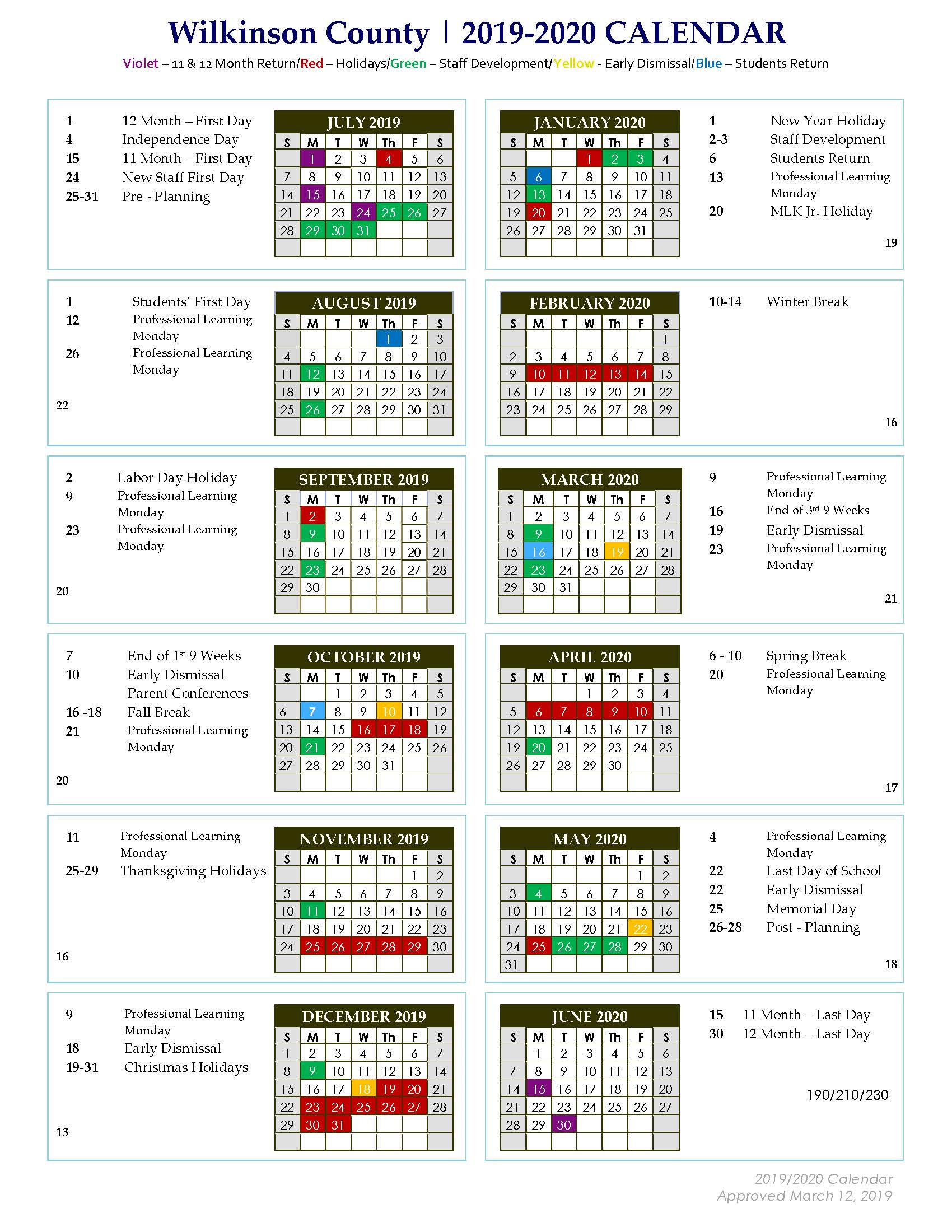 Wilkinson County Middle: 2019 – 2020 Approved District Calendar Within Doe School Calnder 2015 2020