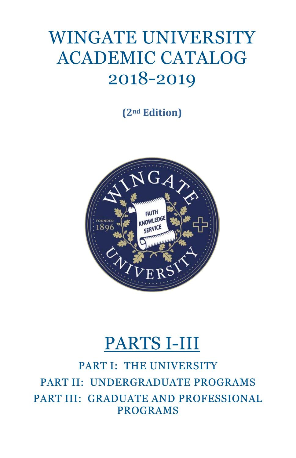 Wingate University Academic Catalog 2018 19 Second Edition Regarding University Of Glasgow Holiday Calender 2021