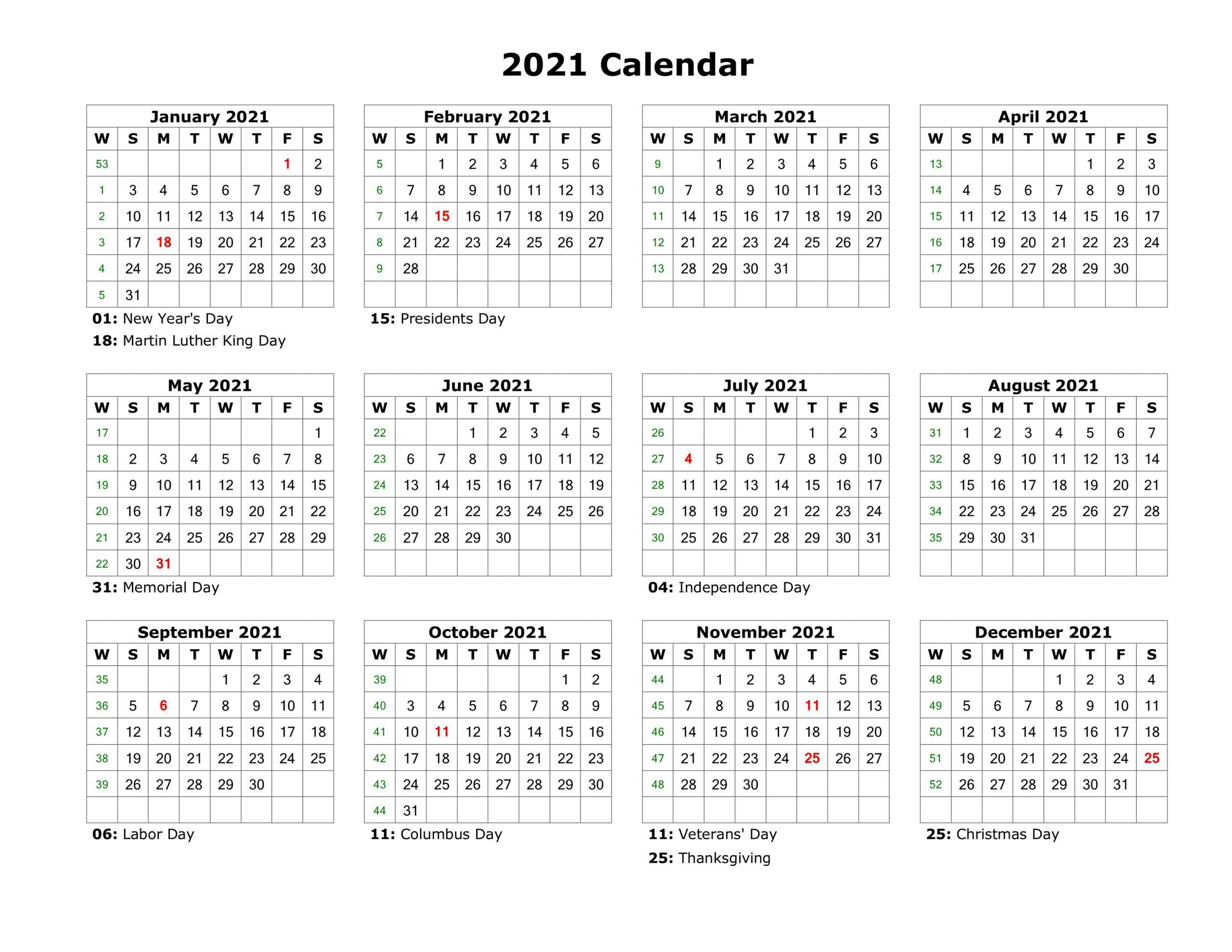 Year At A Glance Calendar 2021 Printable Free For Year At A Pertaining To Printable Calender With Days O The Year