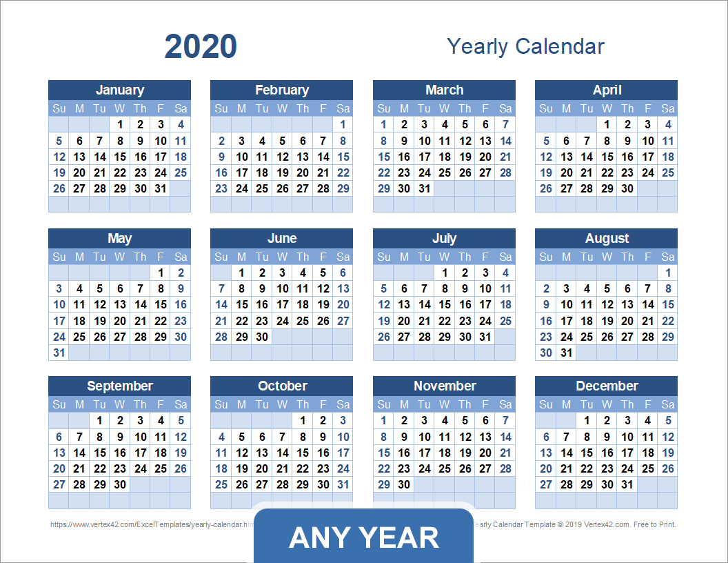 Yearly Calendar Template For 2020 And Beyond With Regard To Printable Calender With Days O The Year