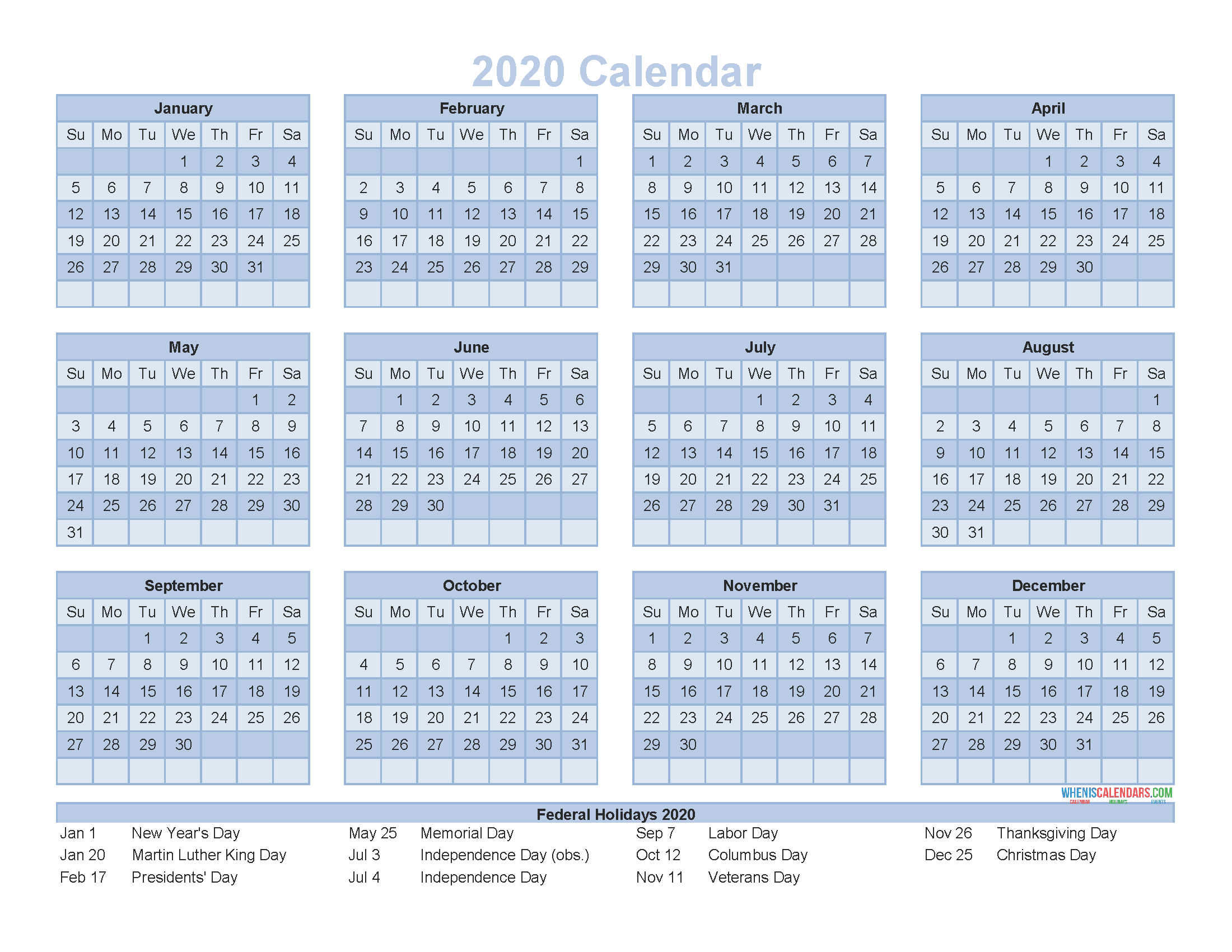12 Month Calendar On One Page 2020 Printable Pdf, Excel In Printable Twelve Month One Page Calendar