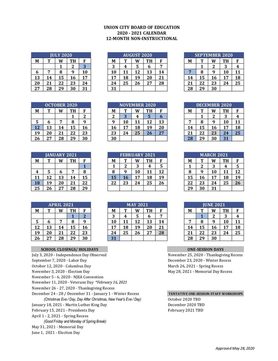 12 Month Employee Calendar - Basics - Union City Public Intended For Jersey City School Calendar 2021