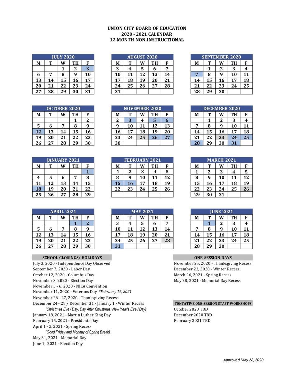 12 Month Employee Calendar - Basics - Union City Public Intended For Jersey City School Calendar 2021