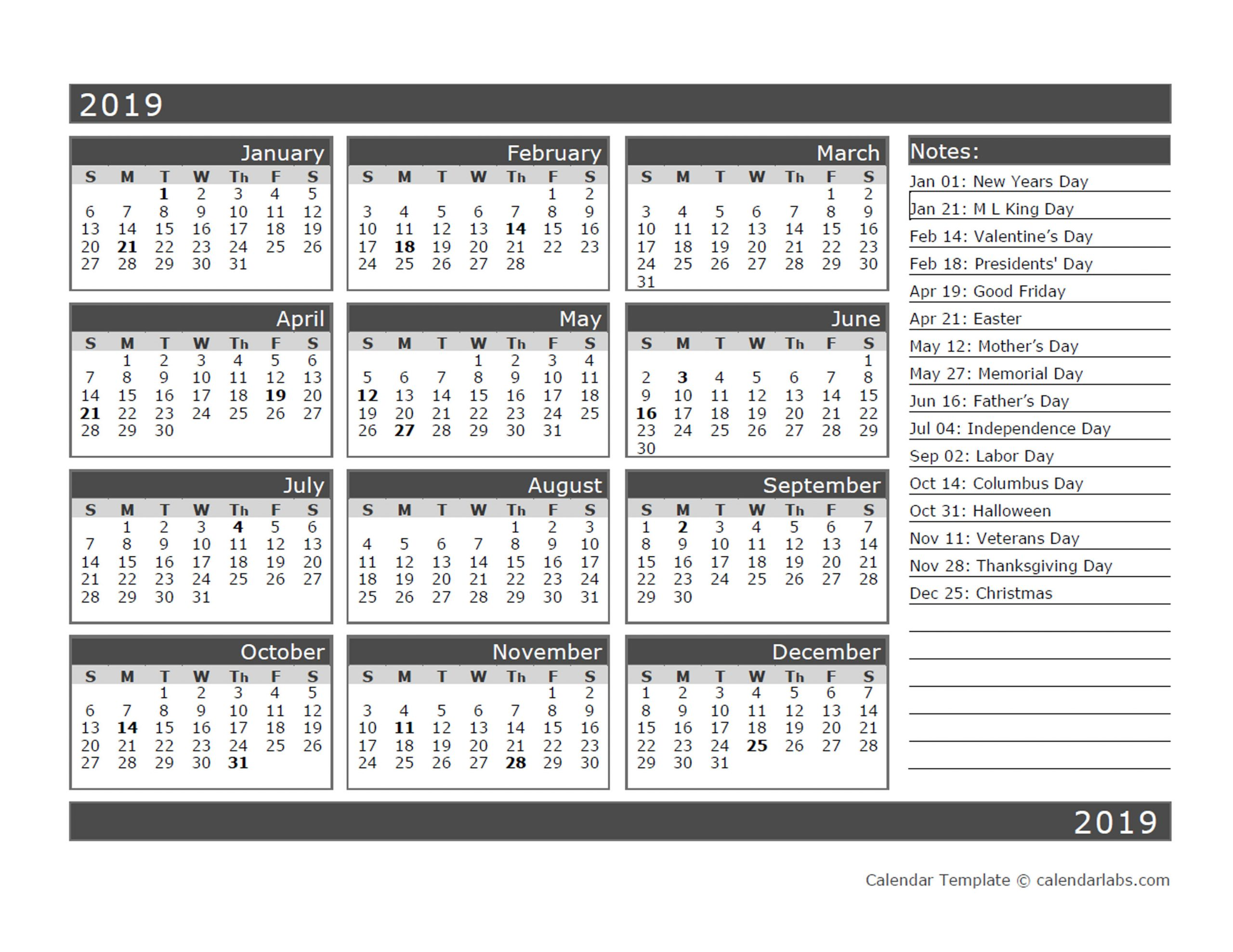 12 Month One Page Calendar Template For 2019 - Free Pertaining To Printable Twelve Month One Page Calendar