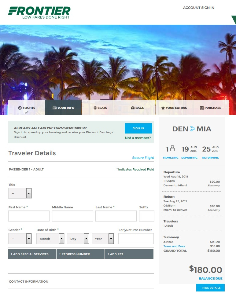 $180 — Denver To/From Miami Nonstop (R/T) | Fly Intended For Does Frontier Have Monthly Fare Calendar