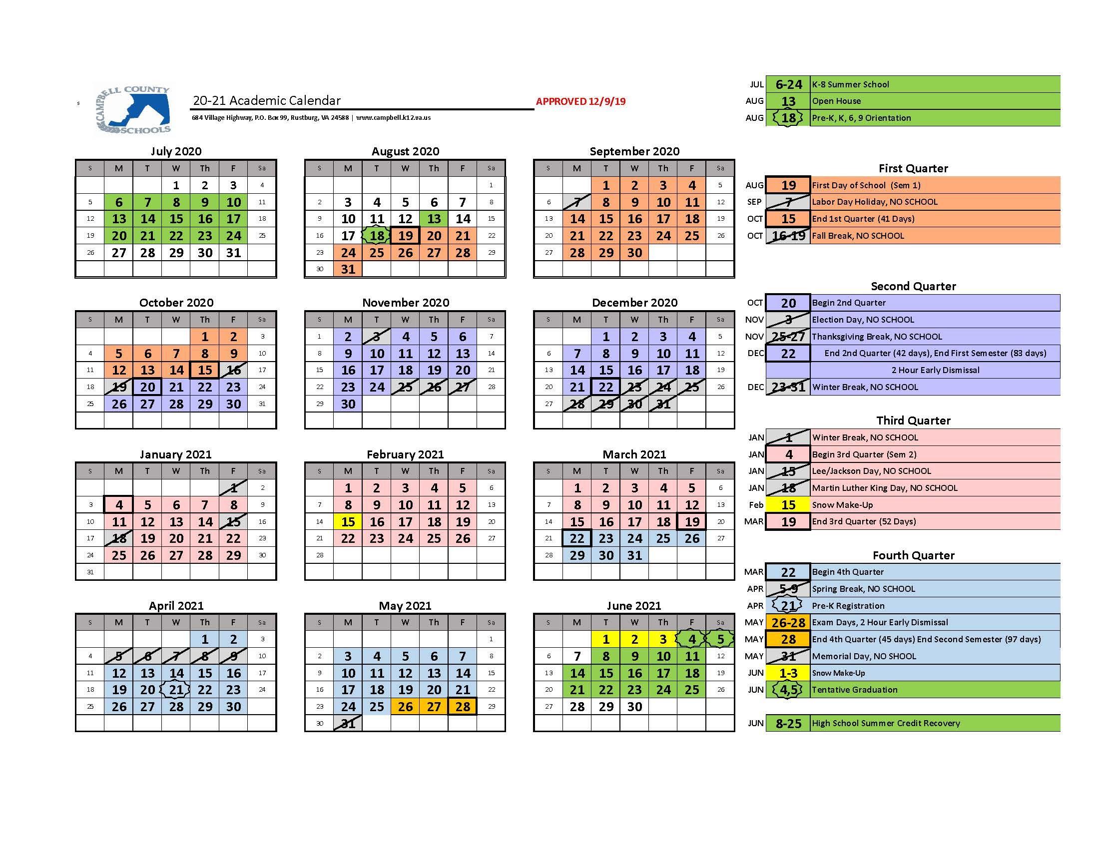 20/21 School Year Calendar Released – Campbell County In Las Cruces Public School Calendar 2021 20