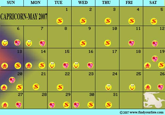 2007 Astrology Calendars For All Zodiac Signs - Capricorn For Good Days Horoscope Calendar